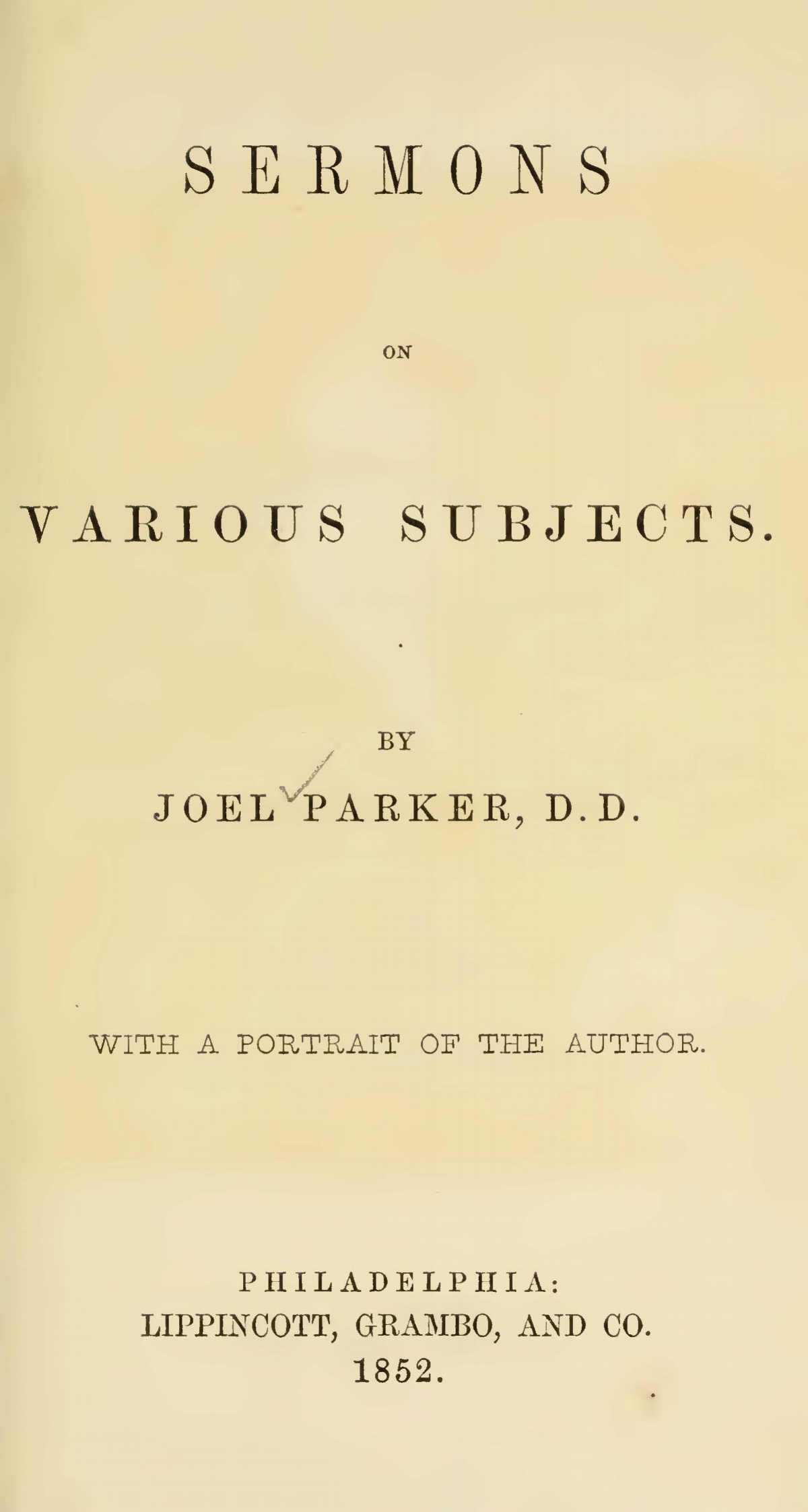 Parker, Joel, Sermons on Various Subjects Title Page.jpg
