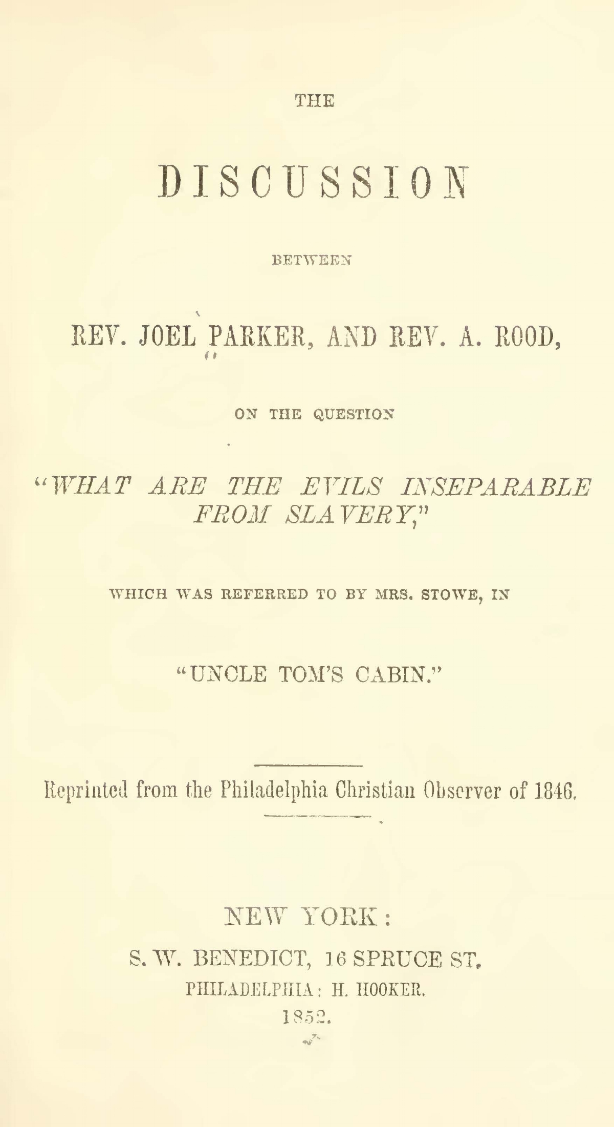 Parker, Joel, The Discussion Between Rev. Joel Parker, and Rev. A. Rood Title Page.jpg