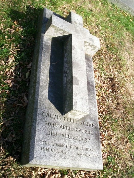 Calvin Ellis Stowe is buried at Phillips Academy Cemetery, Andover, Massachusetts.