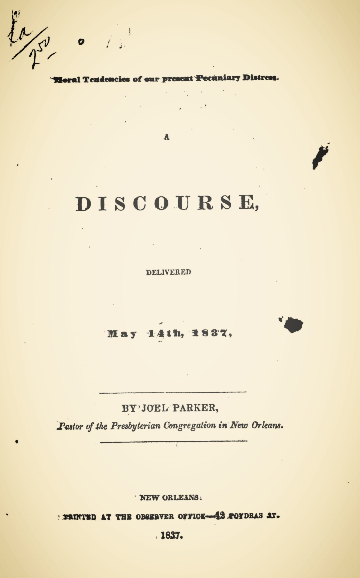 Parker, Joel, Moral Tendences of Our Present Pecuniary Distress Title Page.jpg