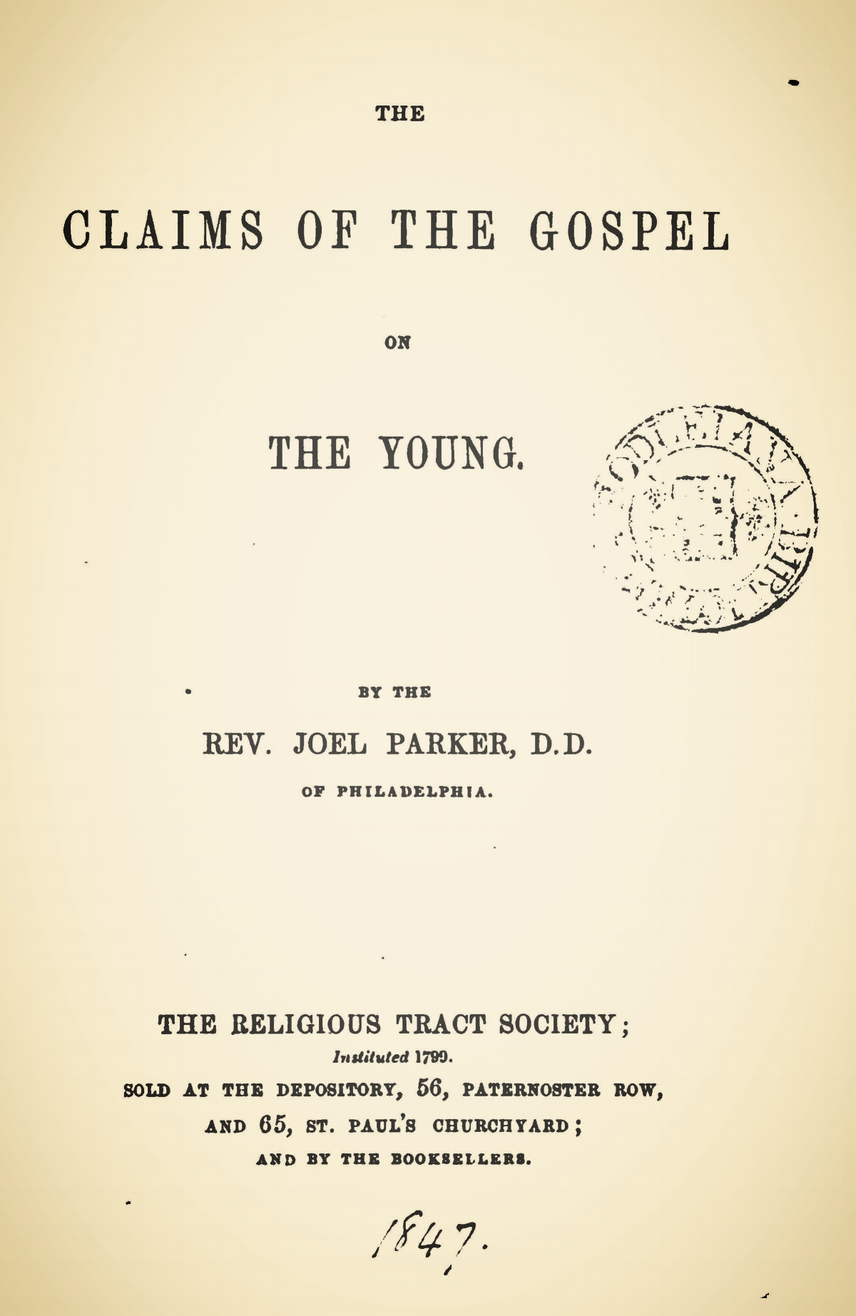 Parker, Joel, The Claims of the Gospel on the Young Title Page.jpg