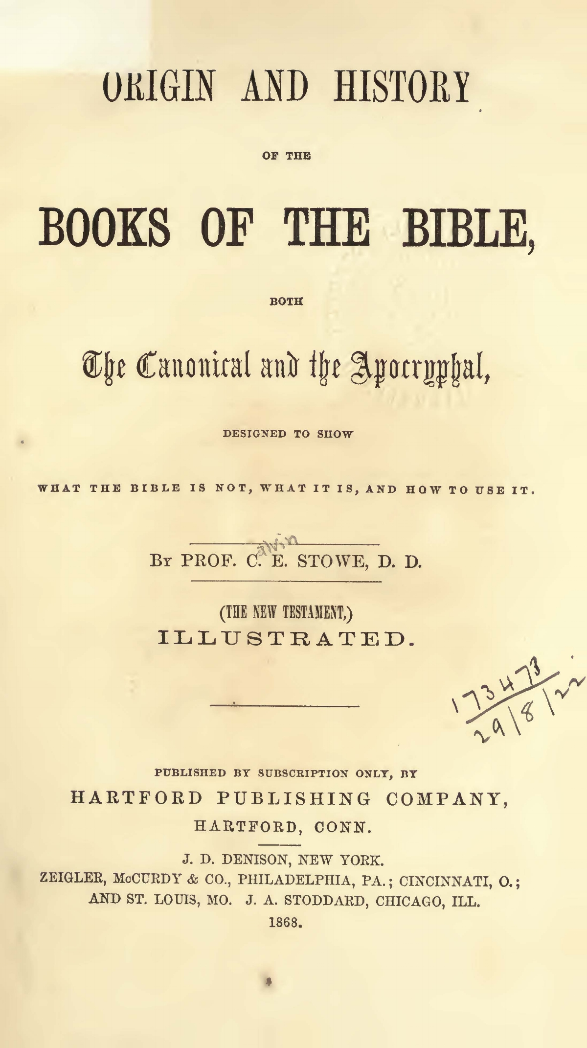 Stowe, Calvin Ellis, Origin and History of the Books of the Bible Title Page.jpg