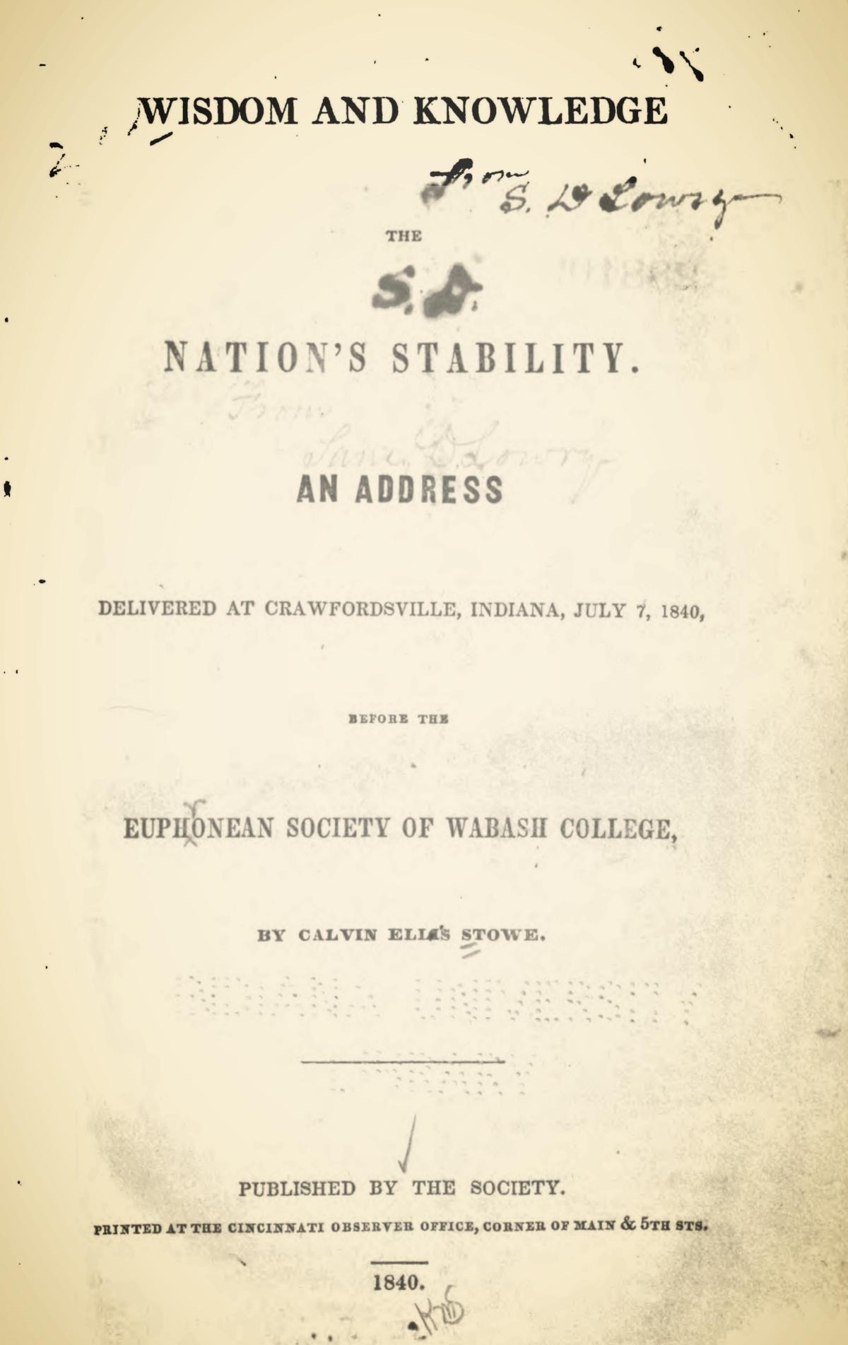 Stowe, Calvin Ellis, Wisdom and Knowledge Title Page.jpg