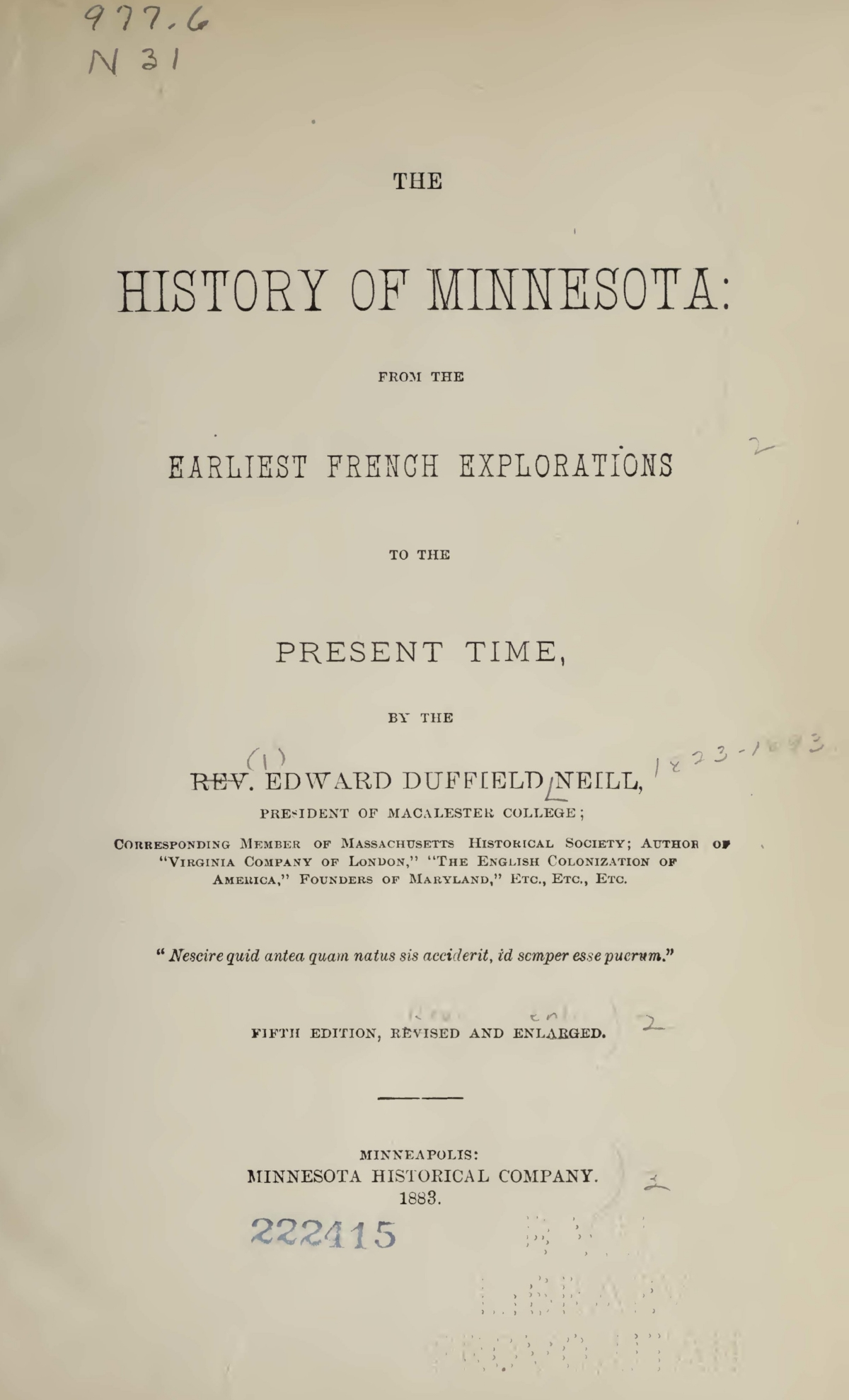 Neill, Edward Duffield, The History of Minnesota Title Page.jpg