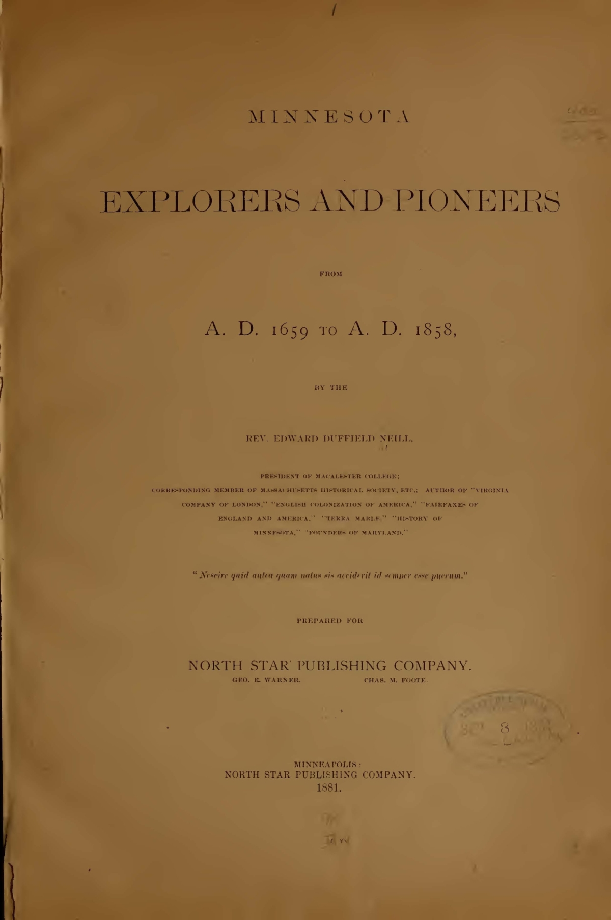 Neill, Edward Duffield, Minnesota Explorers and Pioneers from A.D. 1659 to A.D. 1858 Title Page.jpg