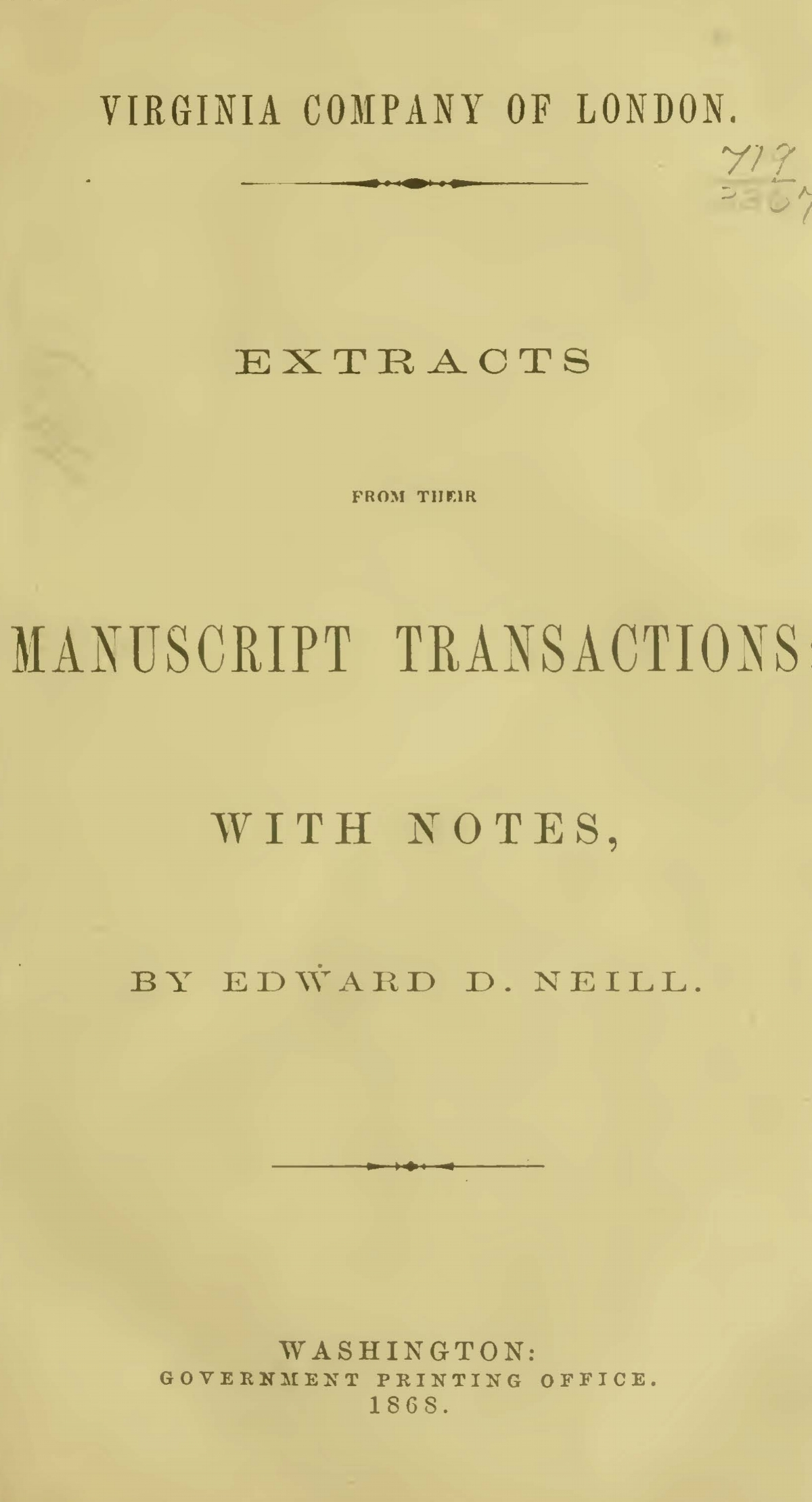 Neill, Edward Duffield, Virginia Company of London Extracts Title Page.jpg