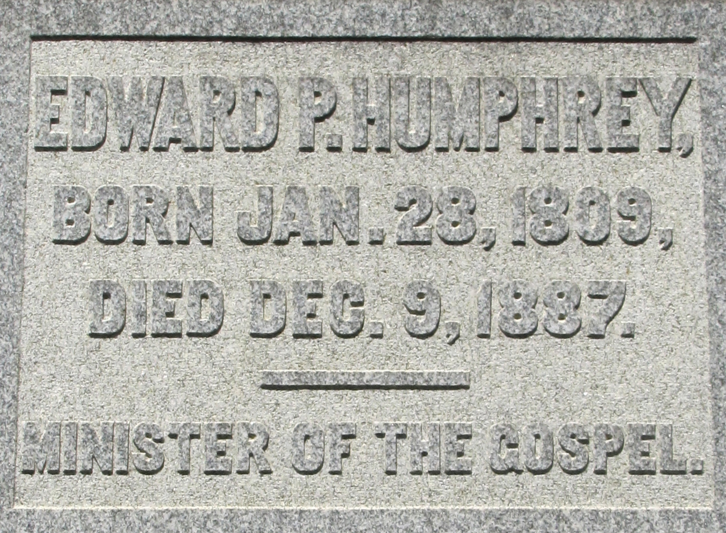 Edward Porter Humphrey is buried at Cave Hill Cemetery, Louisville, Kentucky.