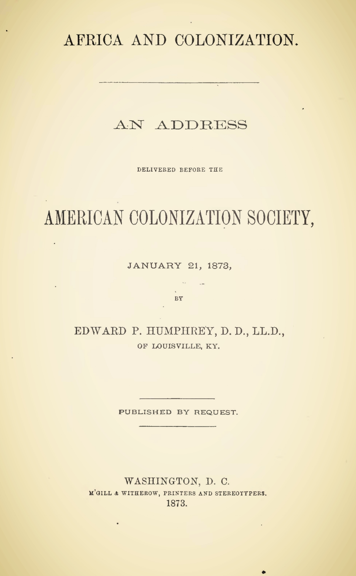 Humphrey, Edward Porter, Africa and Colonization Title Page.jpg