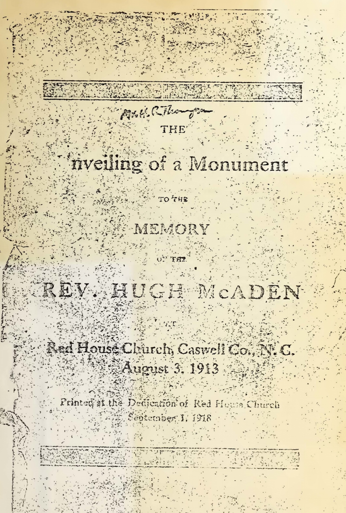 Craig, David Irwin, The Unveiling of a Monument to the Memory of the Rev. Hugh McAden Title Page.jpg