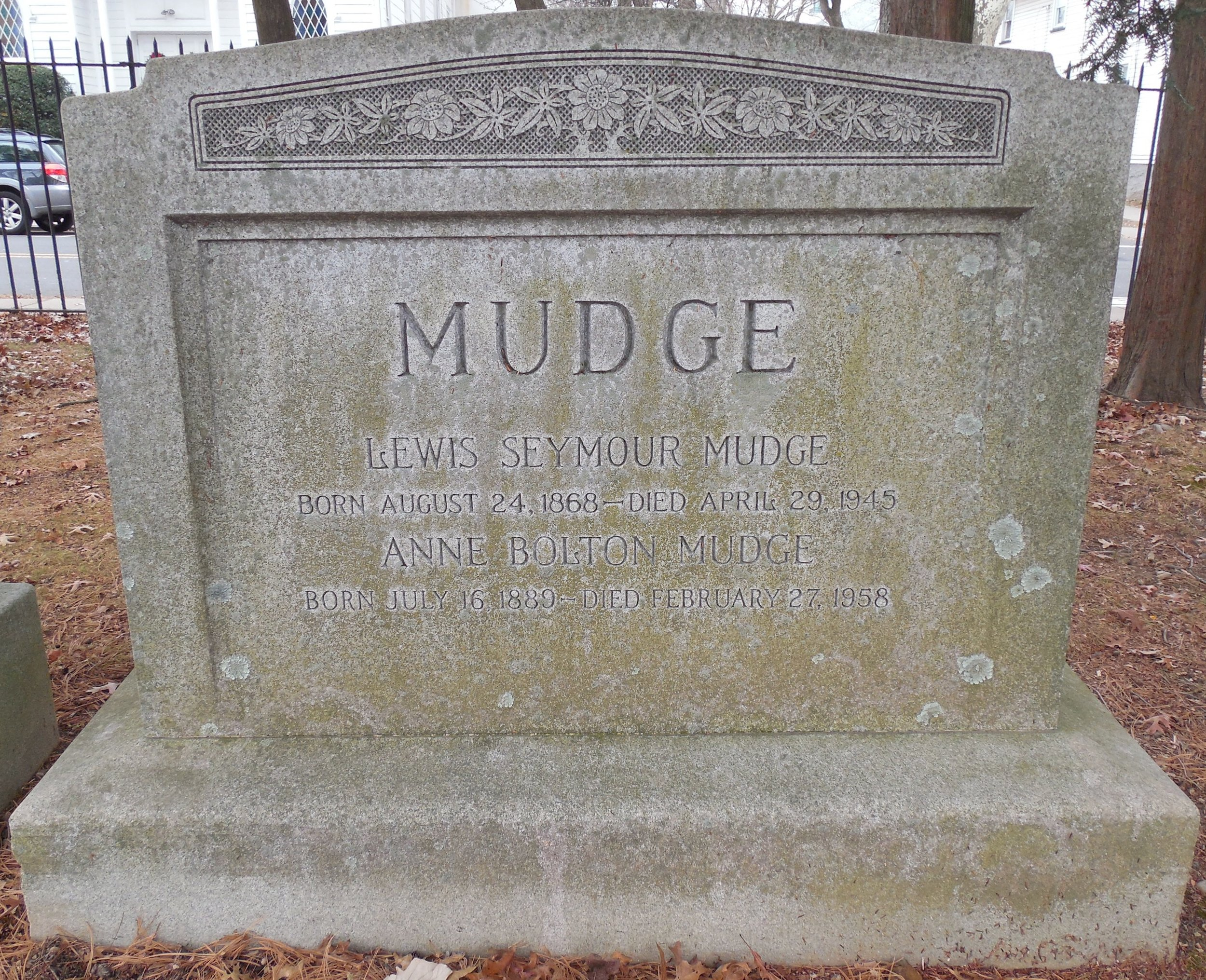 Lewis Seymour Mudge is buried at Princeton Cemetery, Princeton, New Jersey.