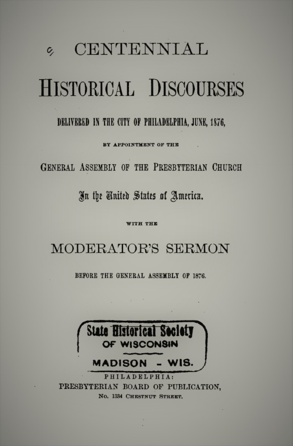 """1. The Period from the Founding of the Presbyterian Church in the United States of America to the Commencement of the War of the Revolution, by Alexander T. McGill 2. The Period from the War of the Revolution to the Adoption of the """"Presbyterian Form of Government """" (1786), by Samuel M. Hopkins 3. The Period from the Adoption of the Presbyterian Form of Government to the Present Time, by Samuel J. Wilson 4. The Present Condition, Prospects, Beneficent Work, Needs and Obligations of the Presbyterian Church, by Edward P. Humphrey 5. American Presbyterianism : Its Past and its Future. The Moderator's Sermon before the General Assembly of 1876, by Edward D. Morris"""