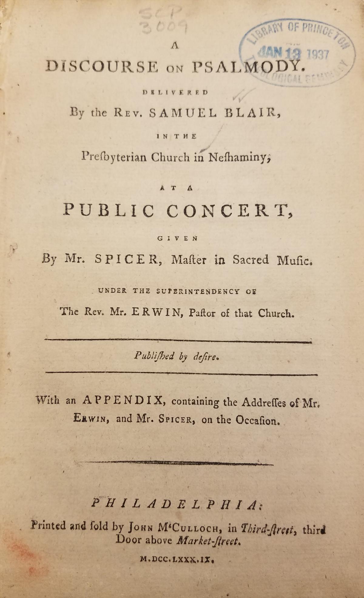 Blair, Samuel, Jr., Discourse on Psalmody Title Page.jpg