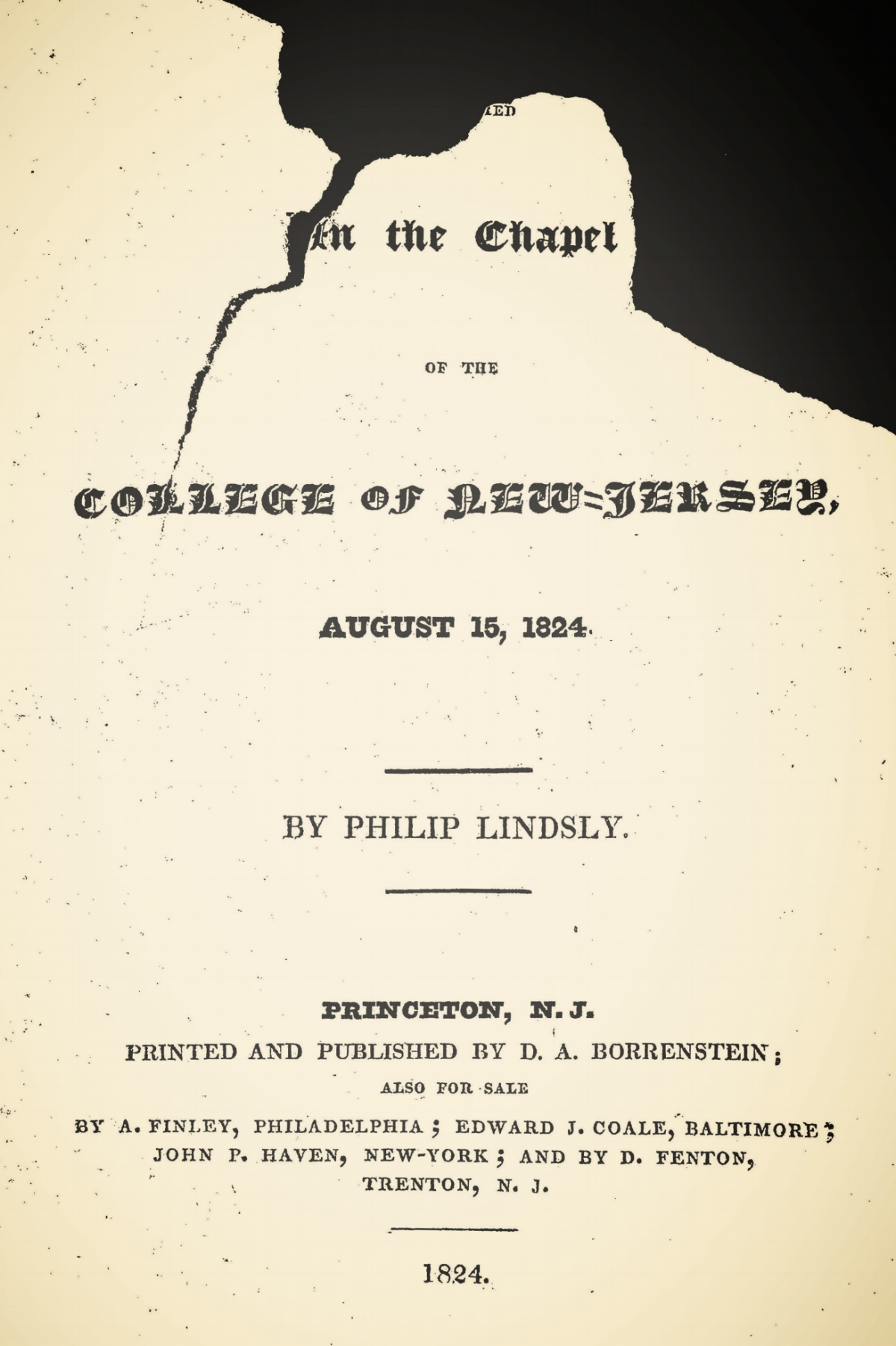 Lindsley, Philip, A Sermon, Delivered in the Chapel of the College of New Jersey Title Page.jpg