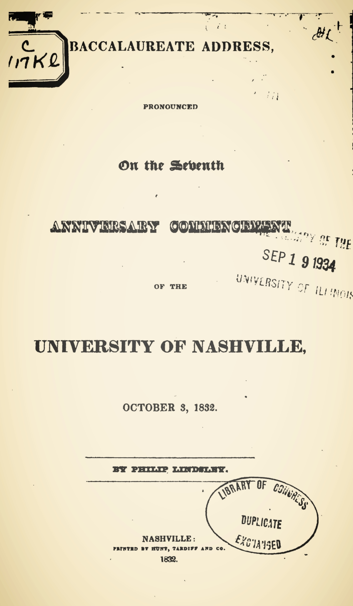 Lindsley, Philip, Baccalaureate Address Title Page.jpg