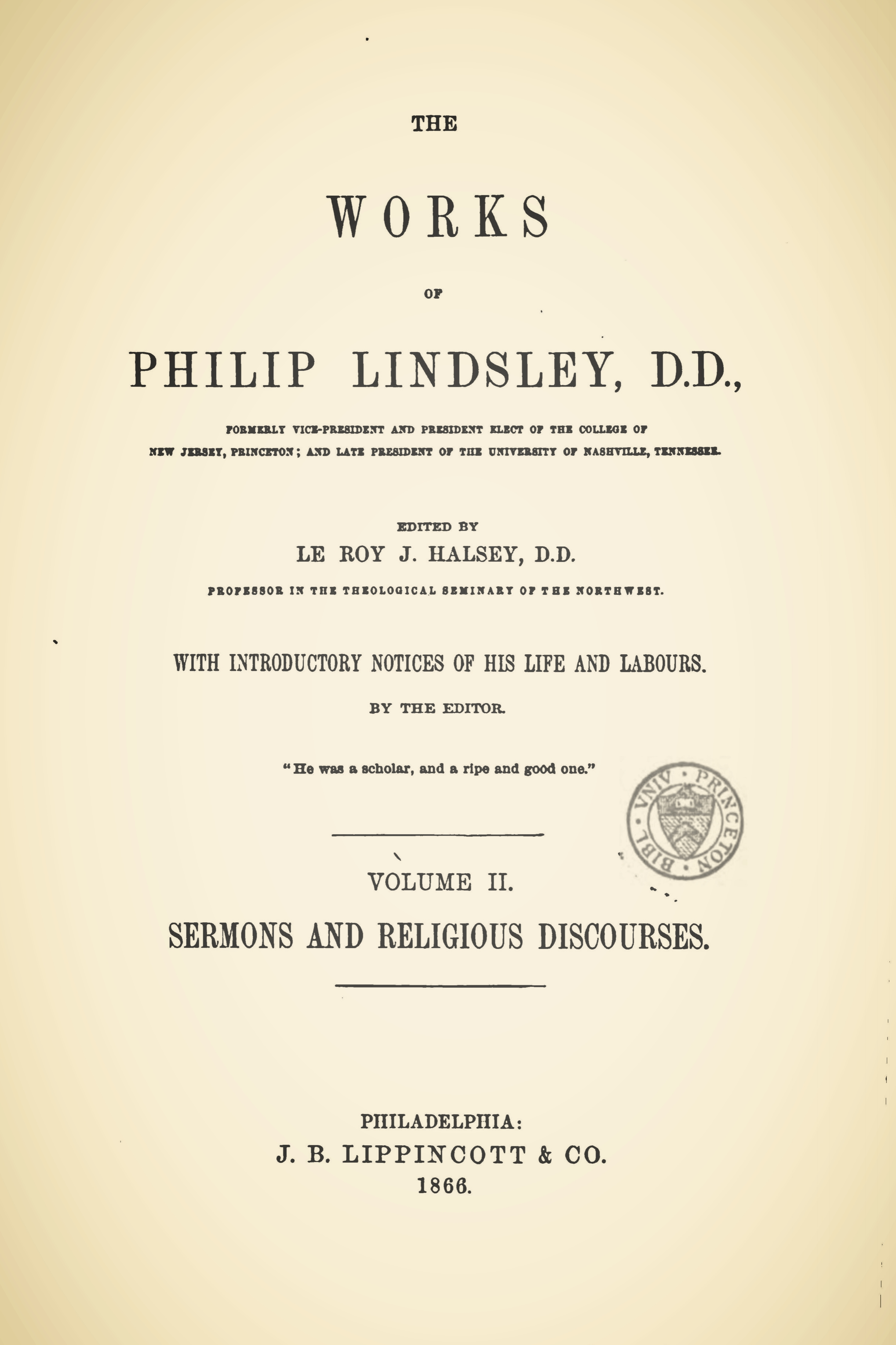 Lindsley, Philip, The Works of Philip Lindsley, Vol. 2 Title Page.jpg