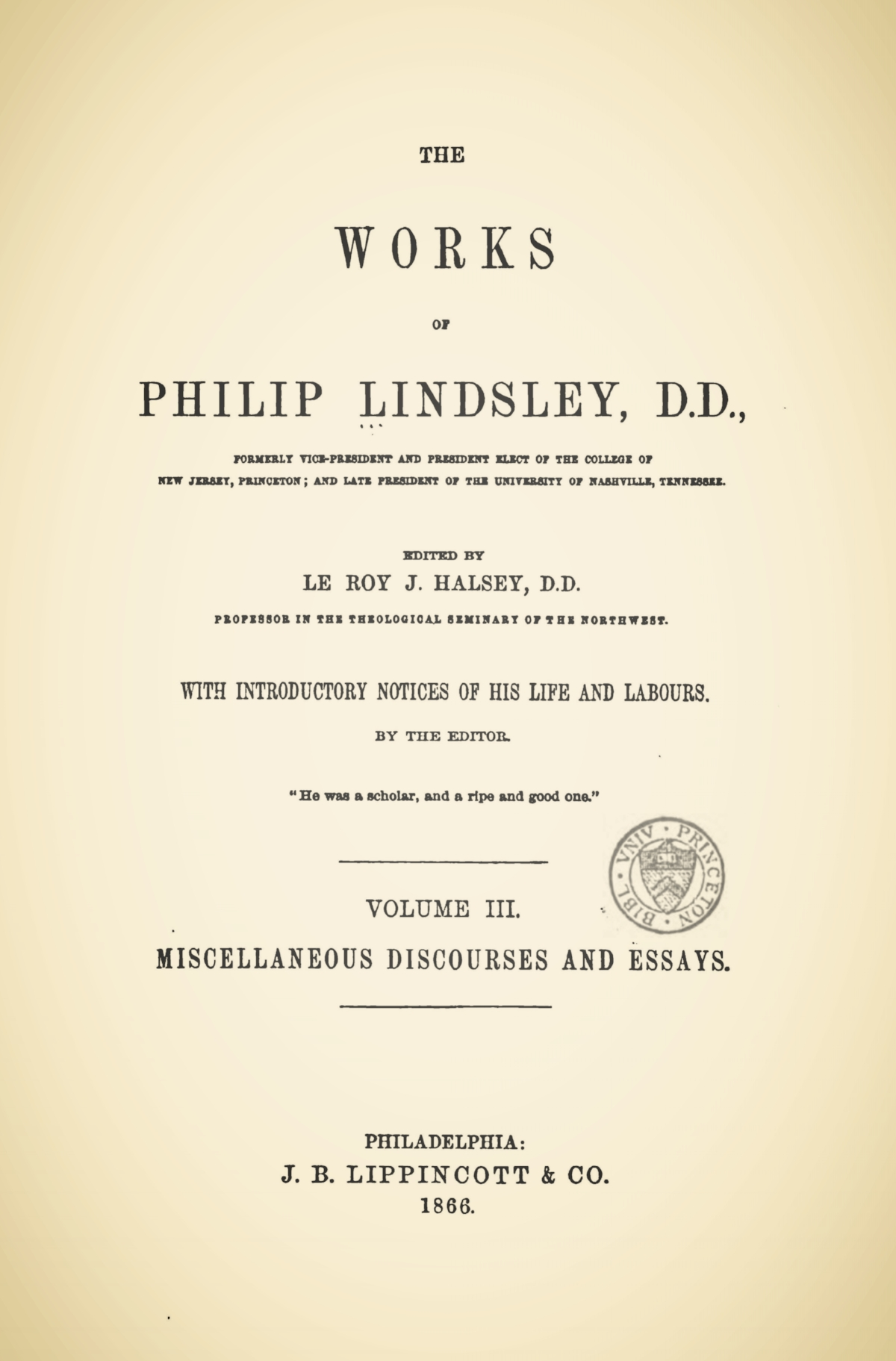 Lindsley, Philip, The Works of Philip Lindsley, Vol. 3 Title Page.jpg
