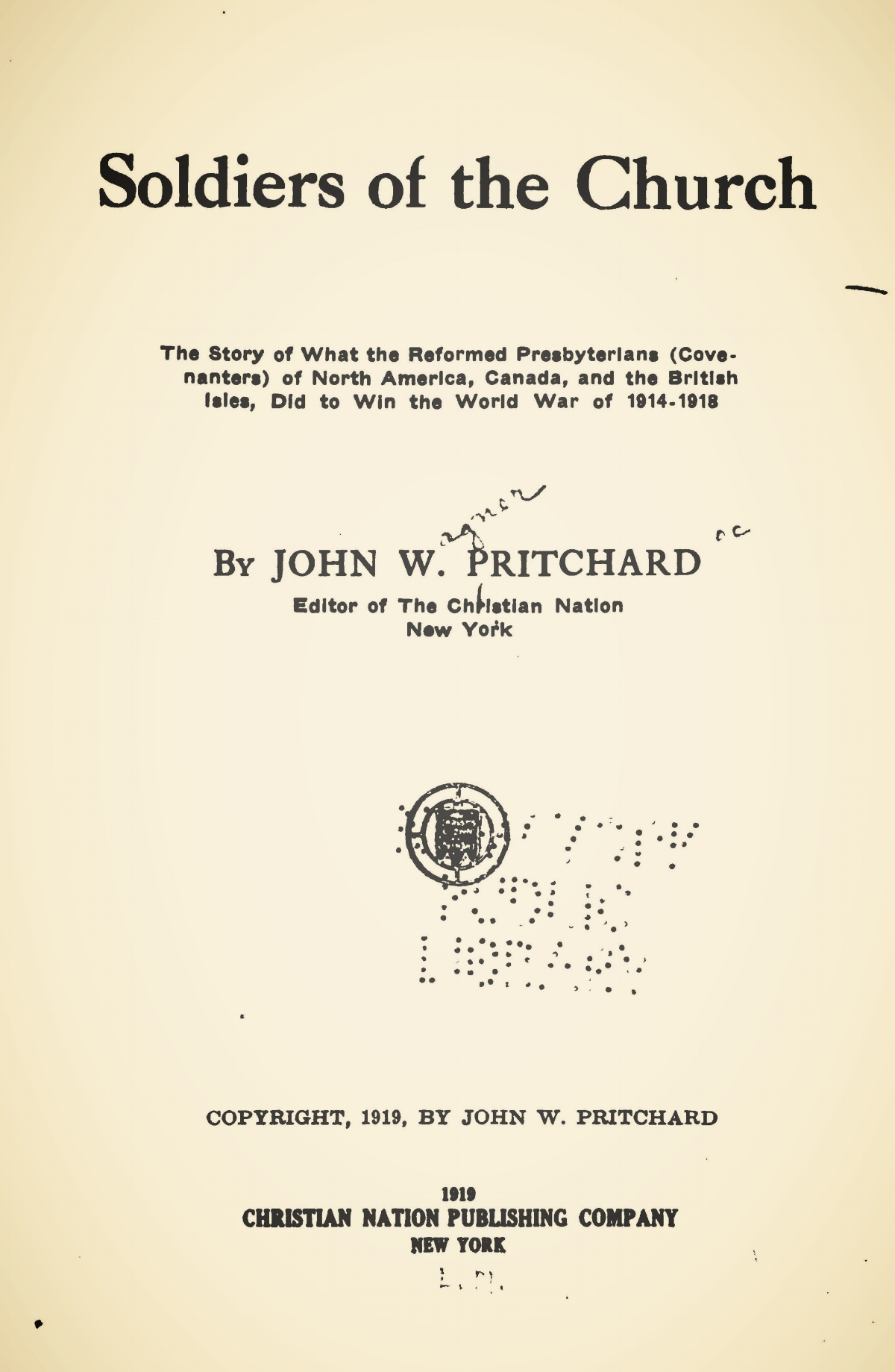 Pritchard, John Wagner, Soldiers of the Church Title Page.jpg