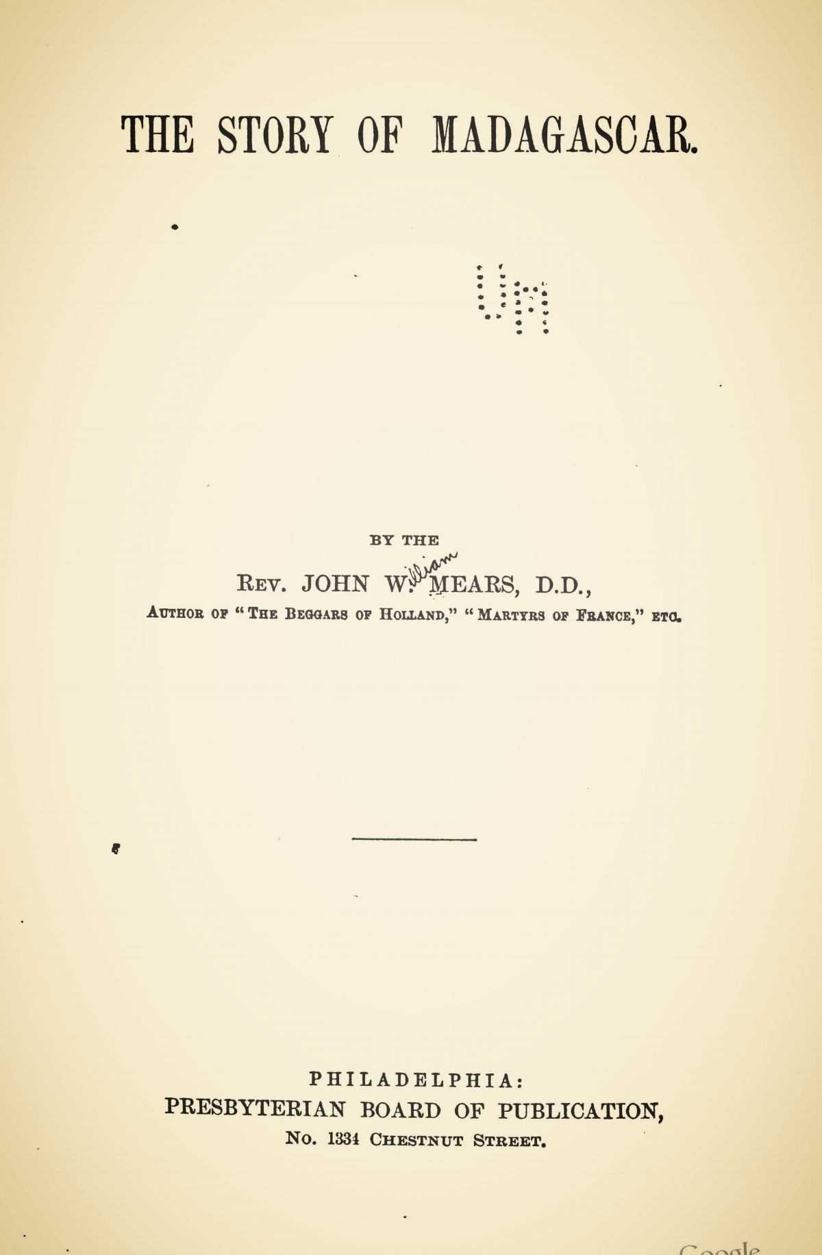 Mears, John William, The Story of Madagascar Title Page.jpg
