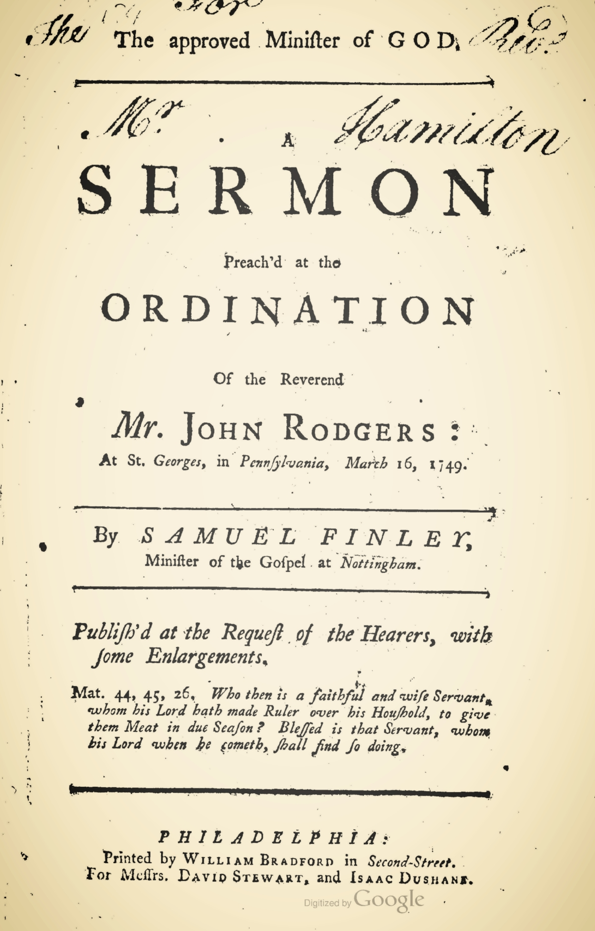 Finley, Samuel, The Approved Minister of God Title Page.jpg
