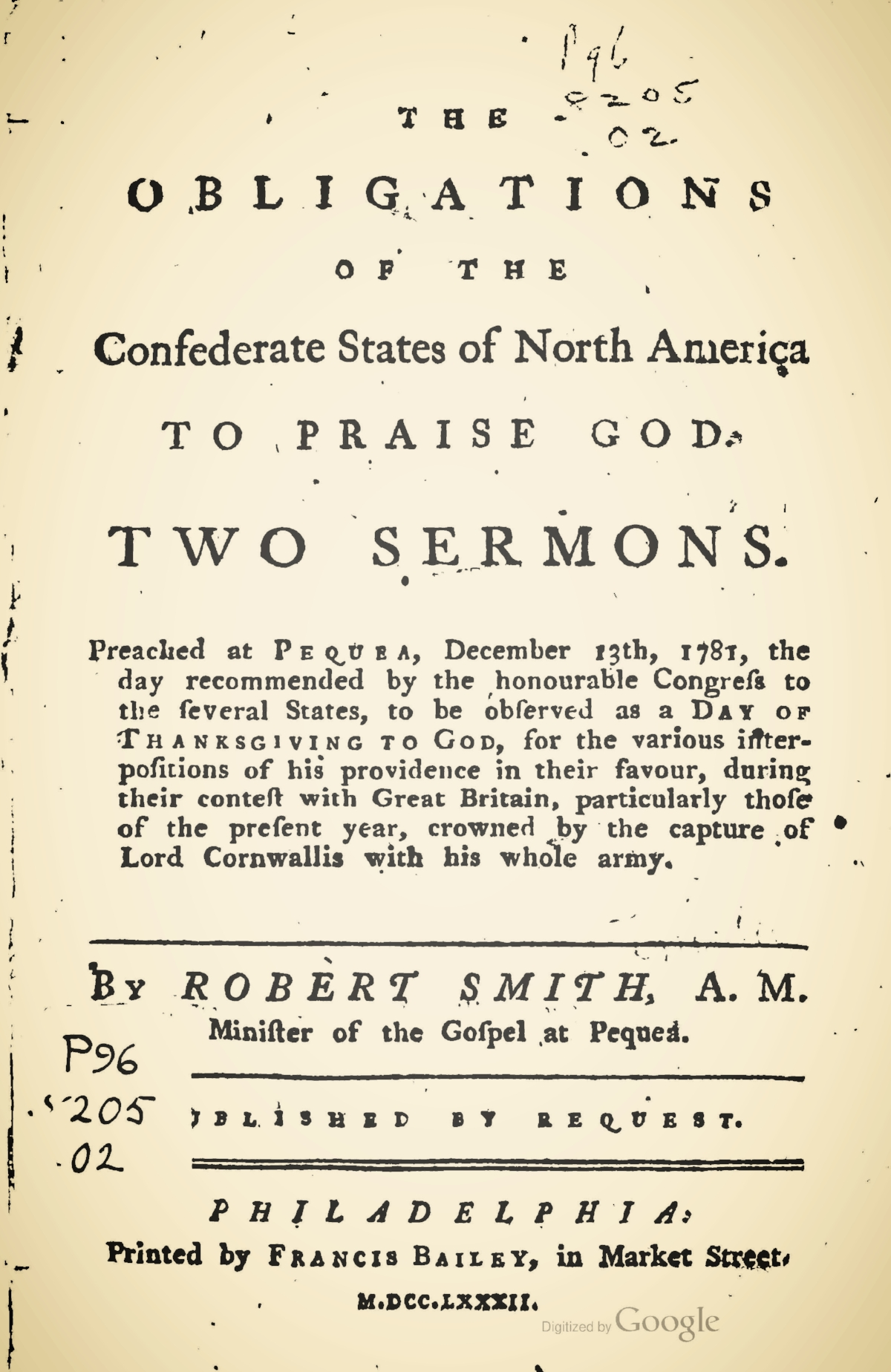 Smith, Robert, The Obligations of the Confederate States of North America to Praise God Two Sermons Title Page.jpg