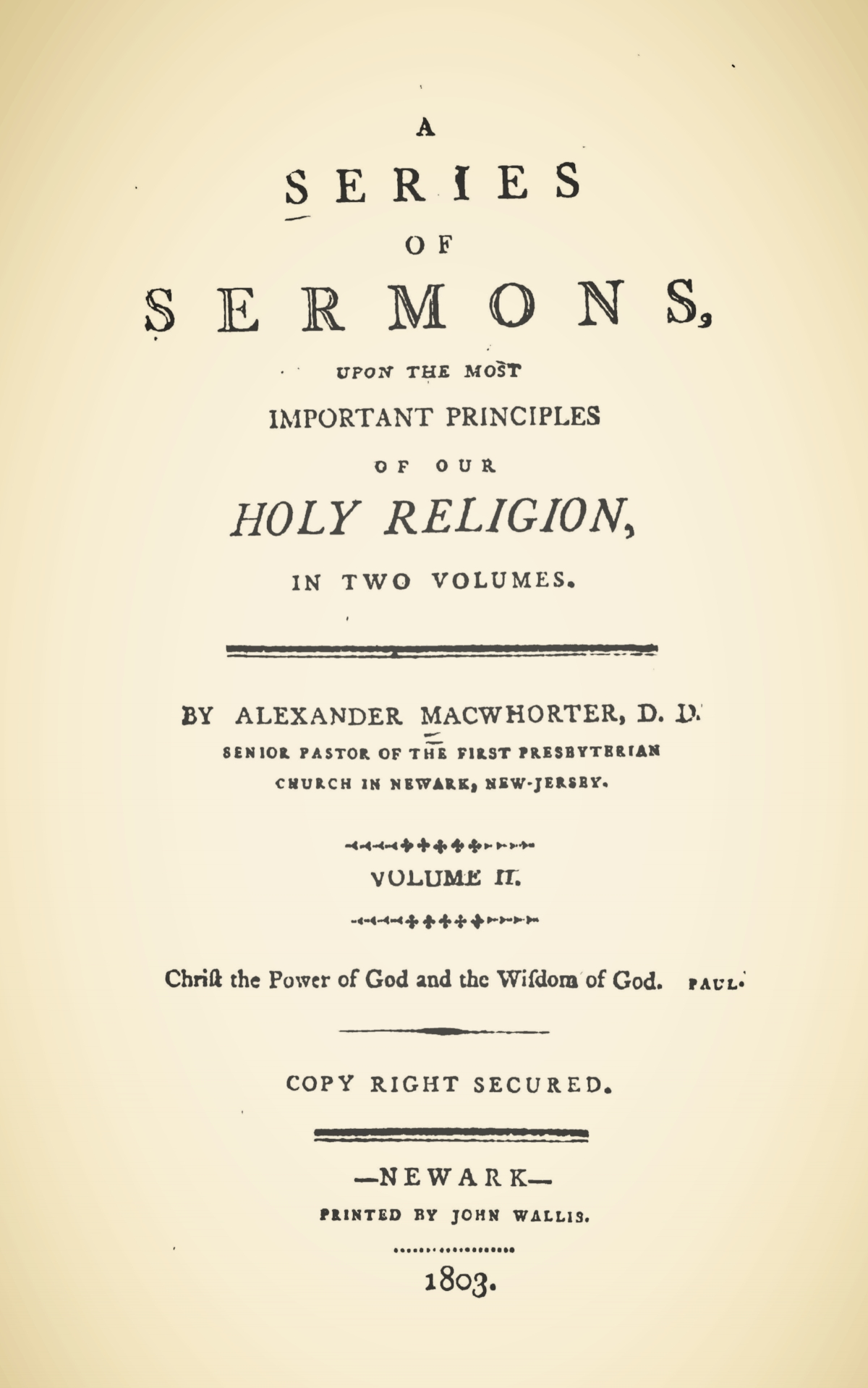 MacWhorter, Alexander, A Series of Sermons, Vol. 2 Title Page.jpg