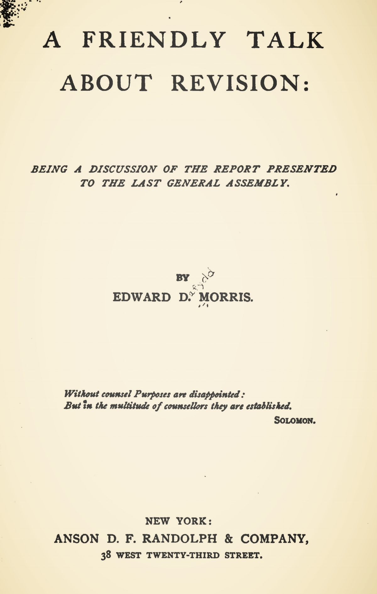 Morris, Edward Dafydd, A Friendly Talk About Revision Title Page.jpg