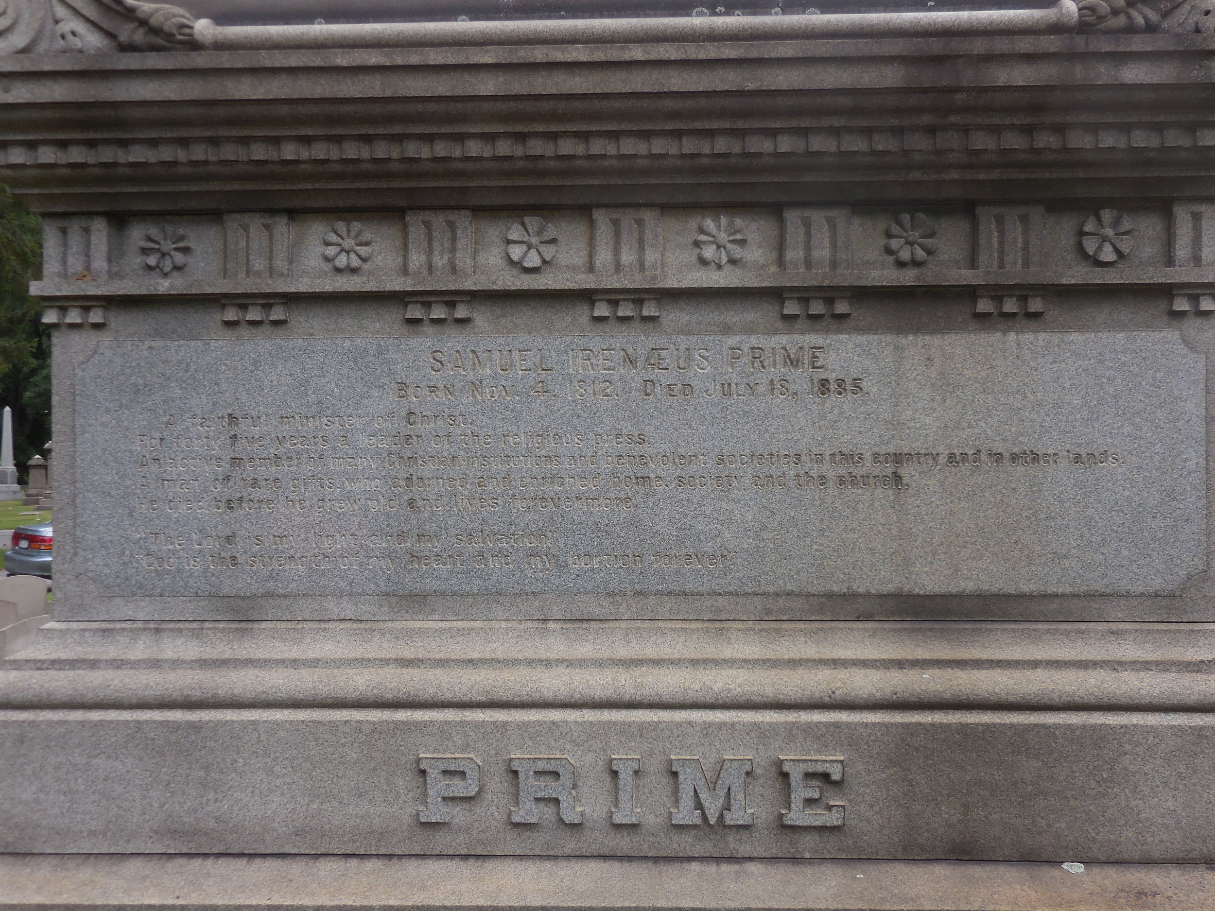 Samuel Irenaeus Prime was buried at Woodlawn Cemetery, Bronx, New York.