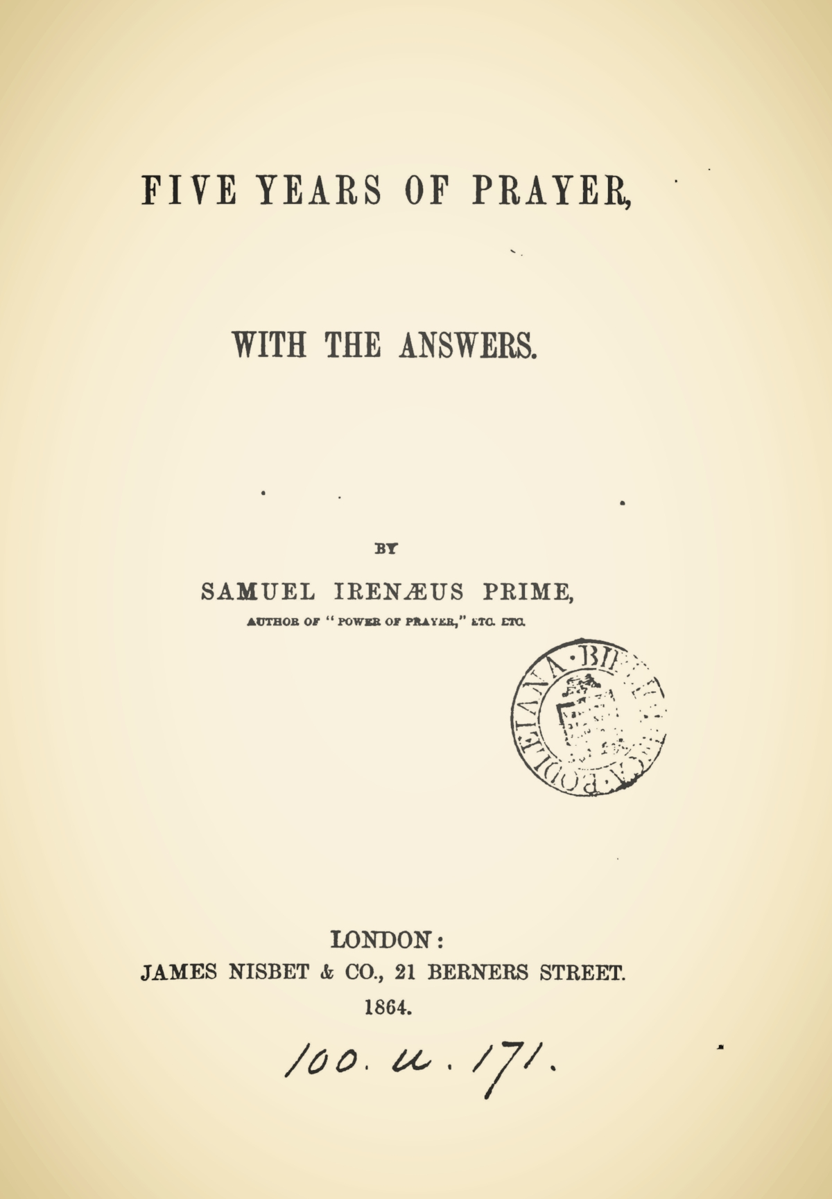 Prime, Samuel Irenaeus, Five Years of Prayer Title Page.jpg