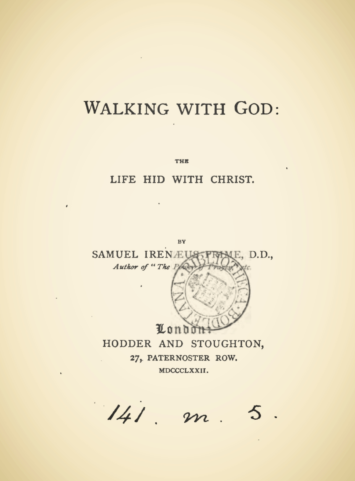 Prime, Samuel Irenaeus, Walking With God Title Page.jpg