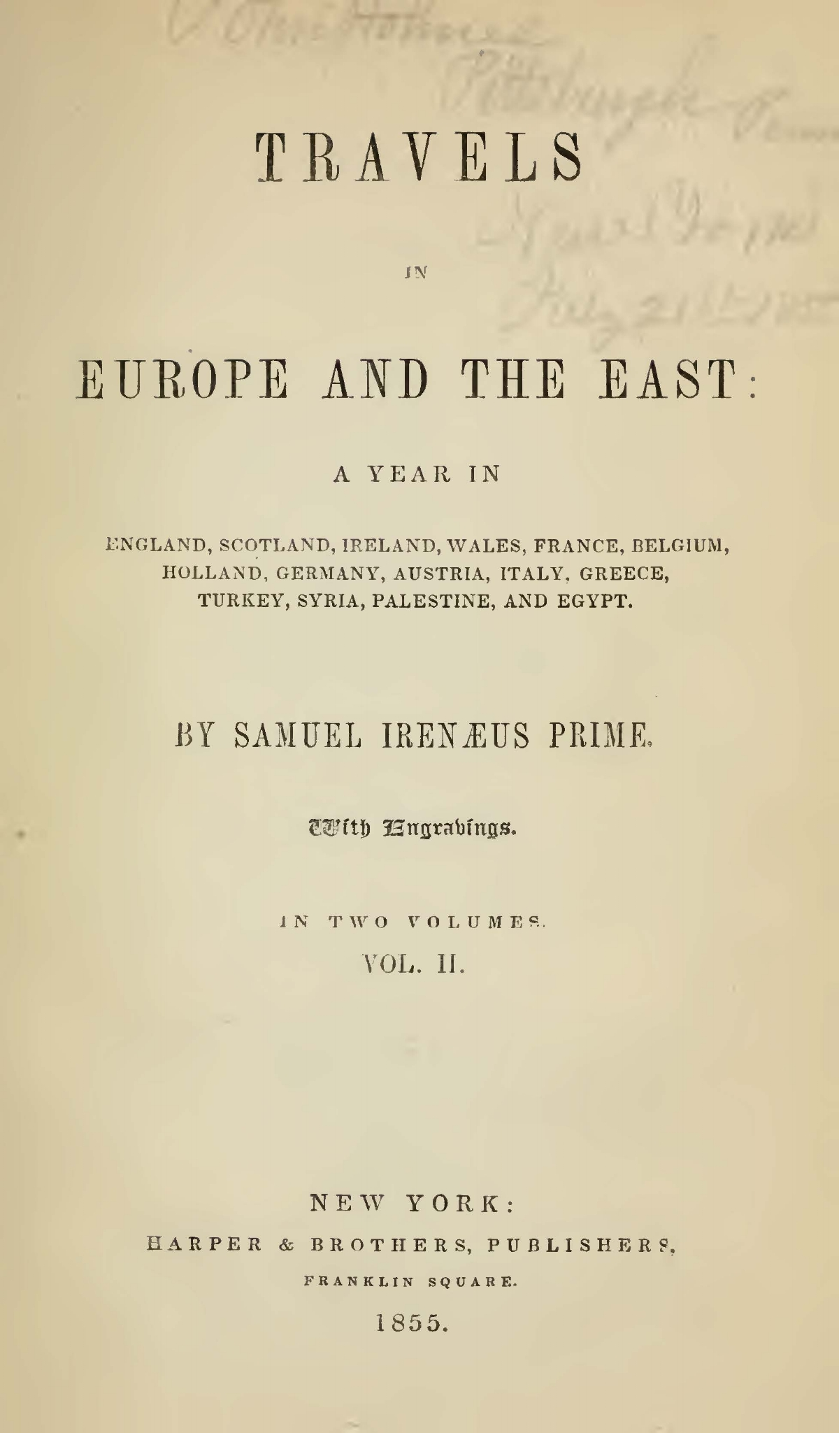 Prime, Samuel Irenaeus, Travels in Europe and the East, Vol. 2 Title Page.jpg