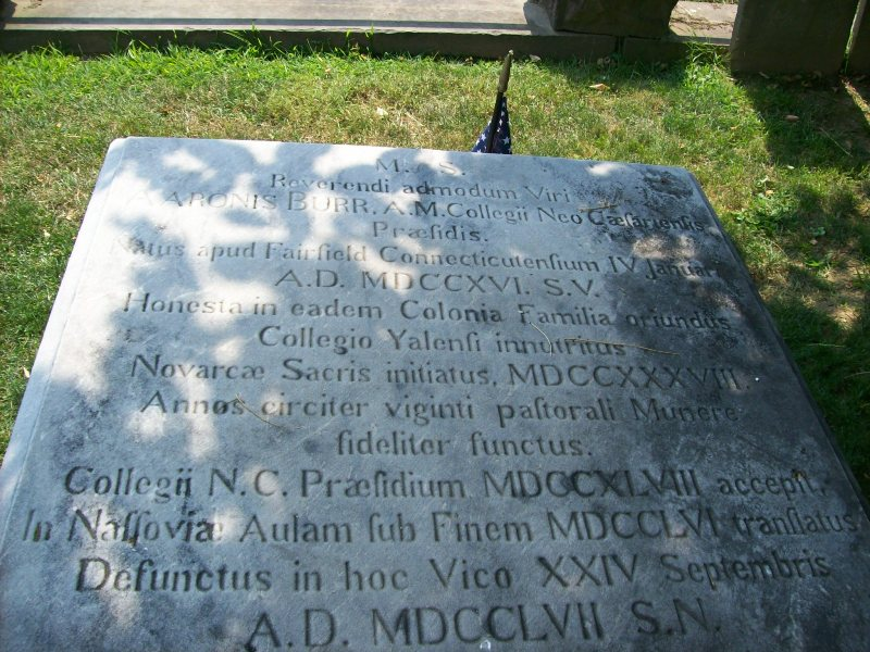Aaron Burr, Sr. is buried at the Princeton Cemetery, Princeton, New Jersey.