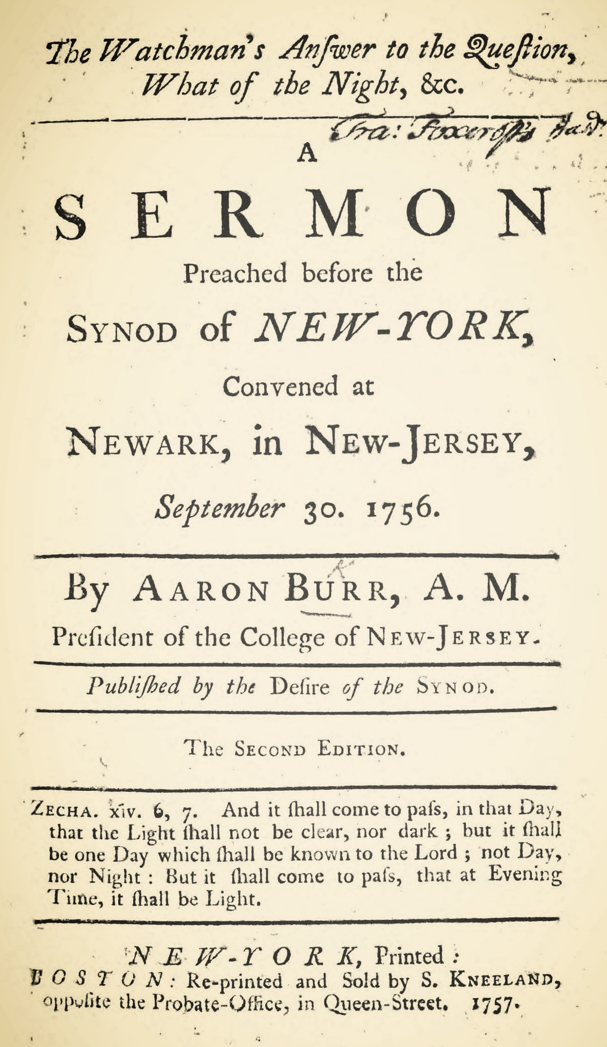 Burr, Sr., Aaron, The Watchman's Answer to the Question, What of the Night Title Page.jpg