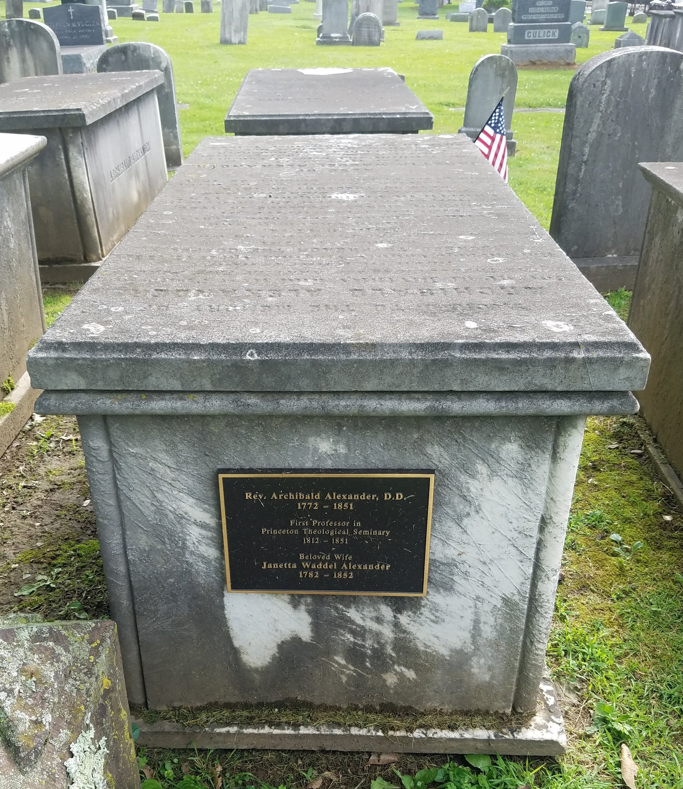Archibald Alexander was buried at Princeton Cemetery, Princeton, New Jersey (photo credit: R. Andrew Myers).