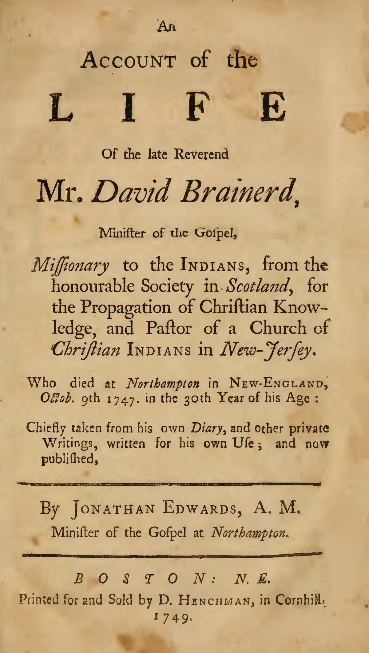 Brainerd, David, An Account of the Life of the Late Reverend Mr. David Brainerd Title Page.jpg