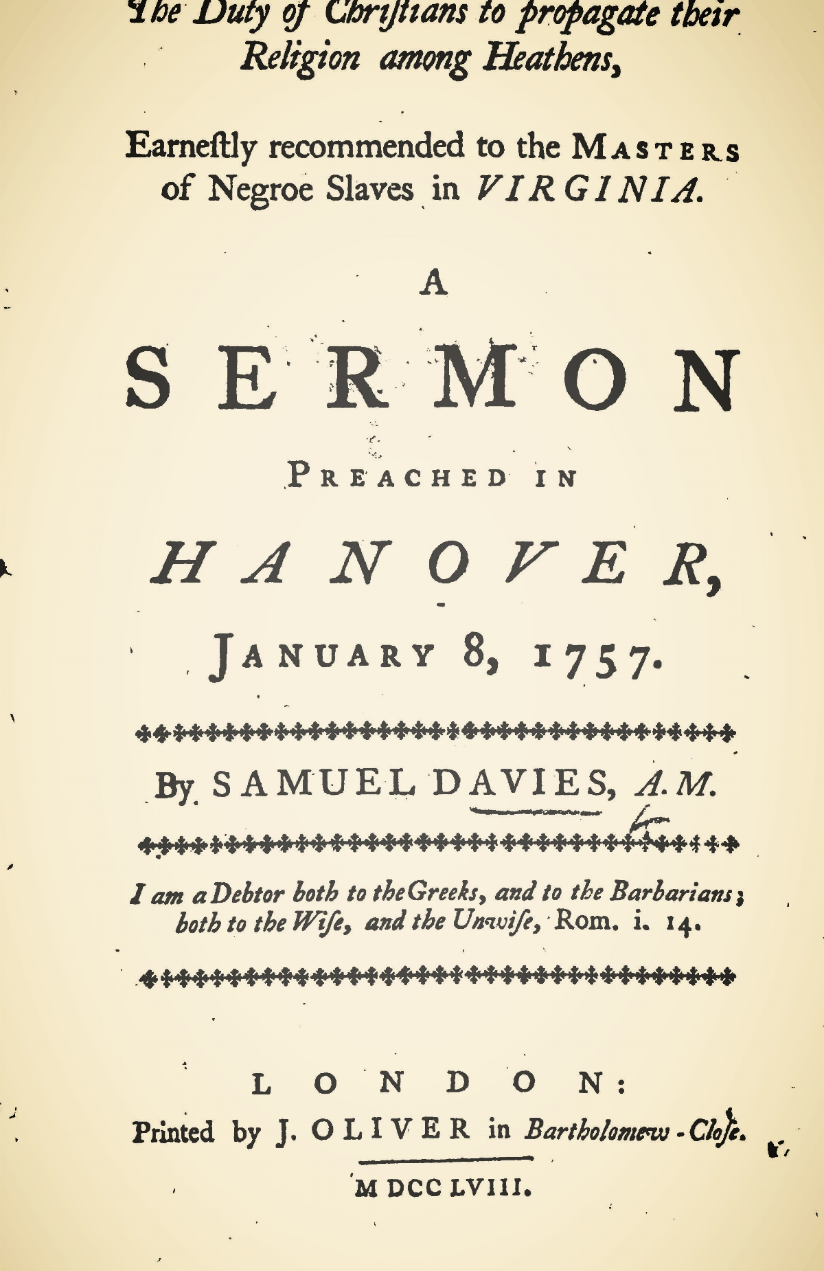 Davies, Samuel, The Duty of Christians to Propagate Their Religion Among Heathens Title Page.jpg