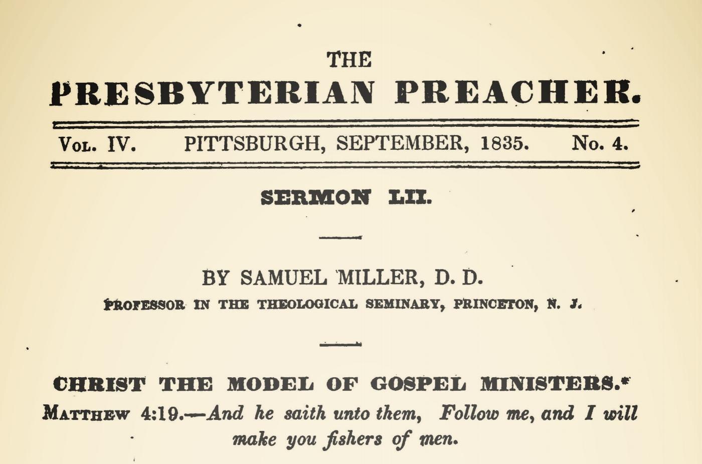Miller, Samuel, Christ the Model of Gospel Ministers Title Page.jpg