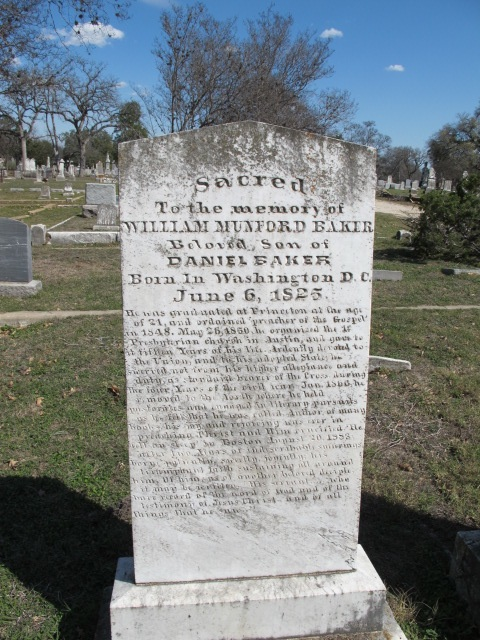 "William Munford Baker, Sr. is often referred to as William Mumford Baker, but as his gravestone shows, ""Munford"" is his correct middle name."