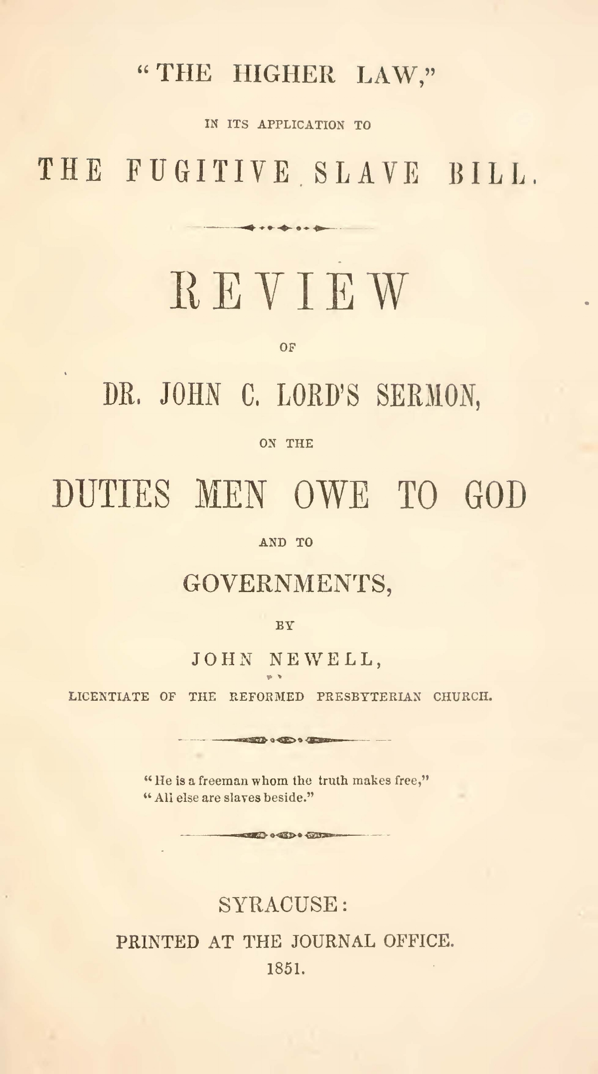 Newell, John, The Higher Law, Review Title Page.jpg