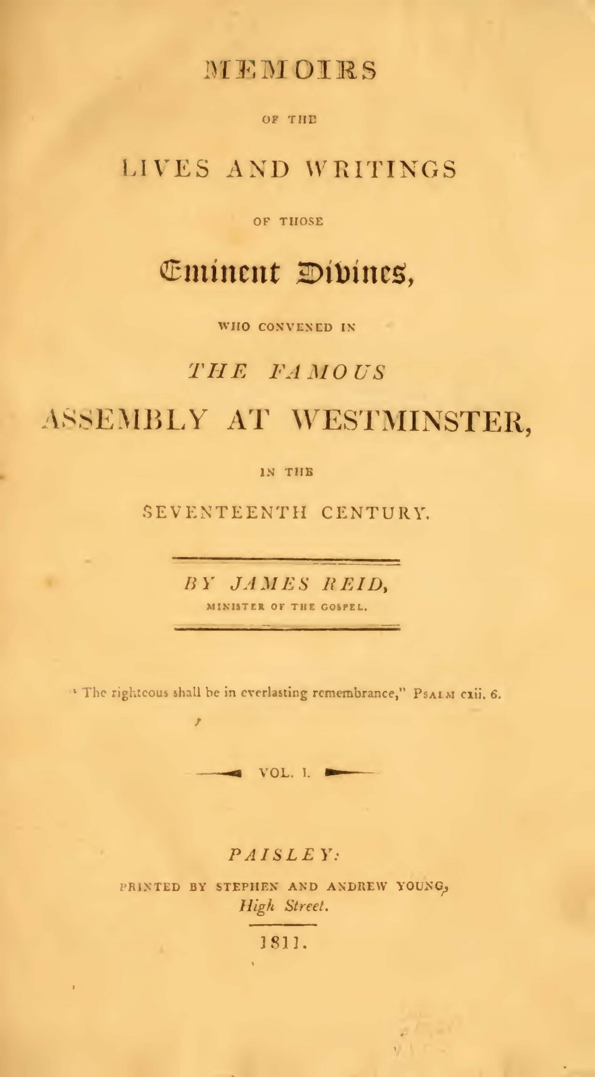 Reid, James, Memoirs of the Lives and Writings of the Westminster Divines, Vol. 1 Title Page.jpg