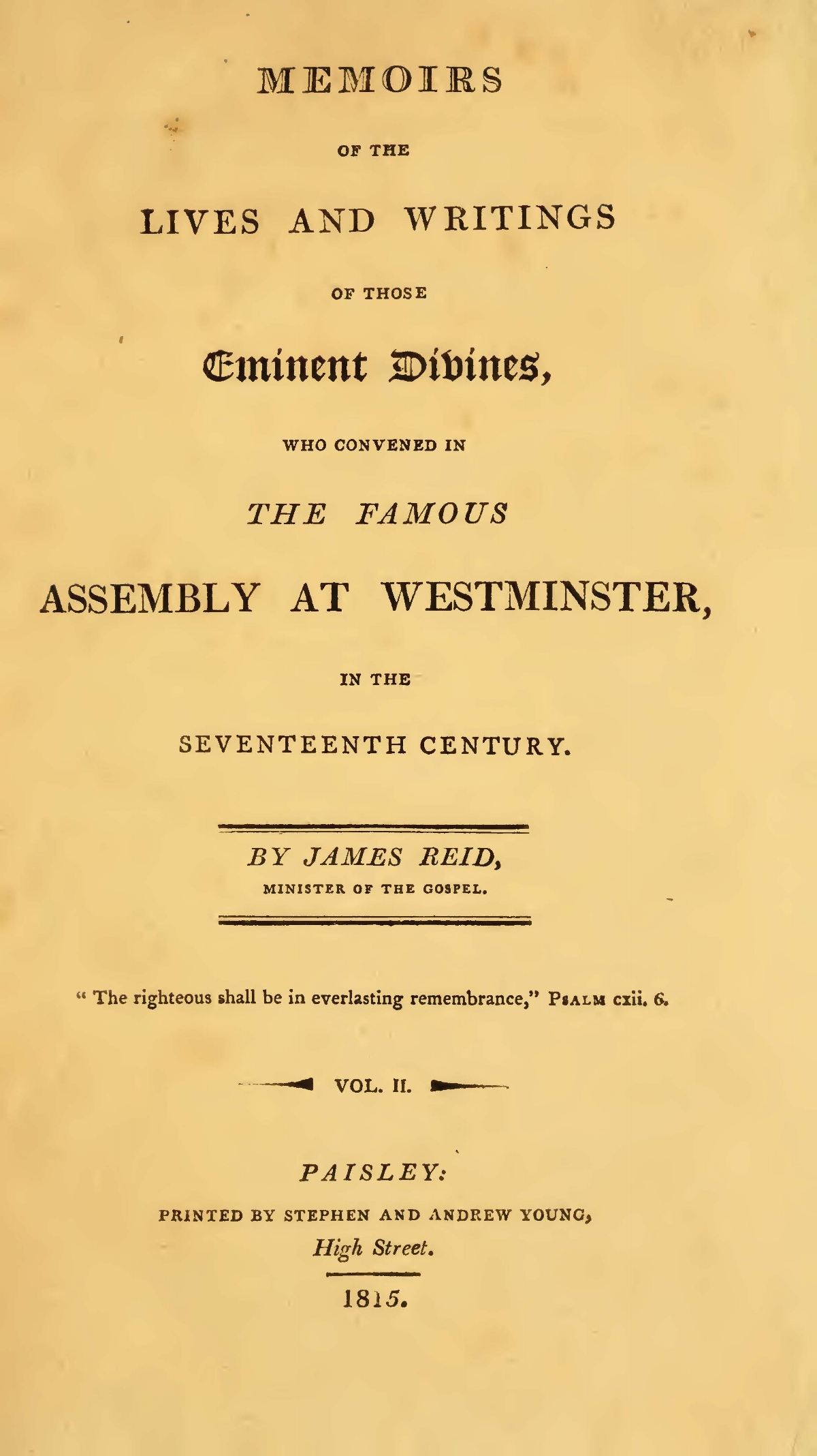 Reid, James, Memoirs of the Lives and Writings of the Westminster Divines, Vol. 2 Title Page.jpg