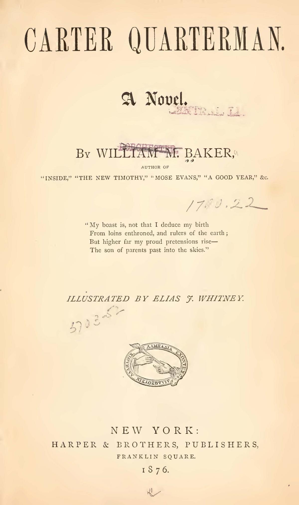 Baker, William Munford, Carter Quarterman Title Page.jpg