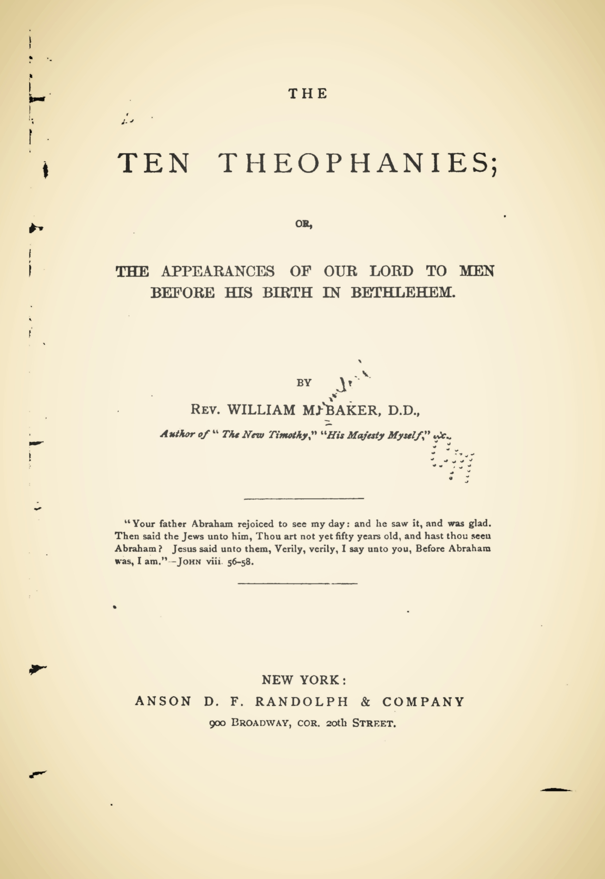 Baker, William Munford, The Ten Theophanies Title Page.jpg