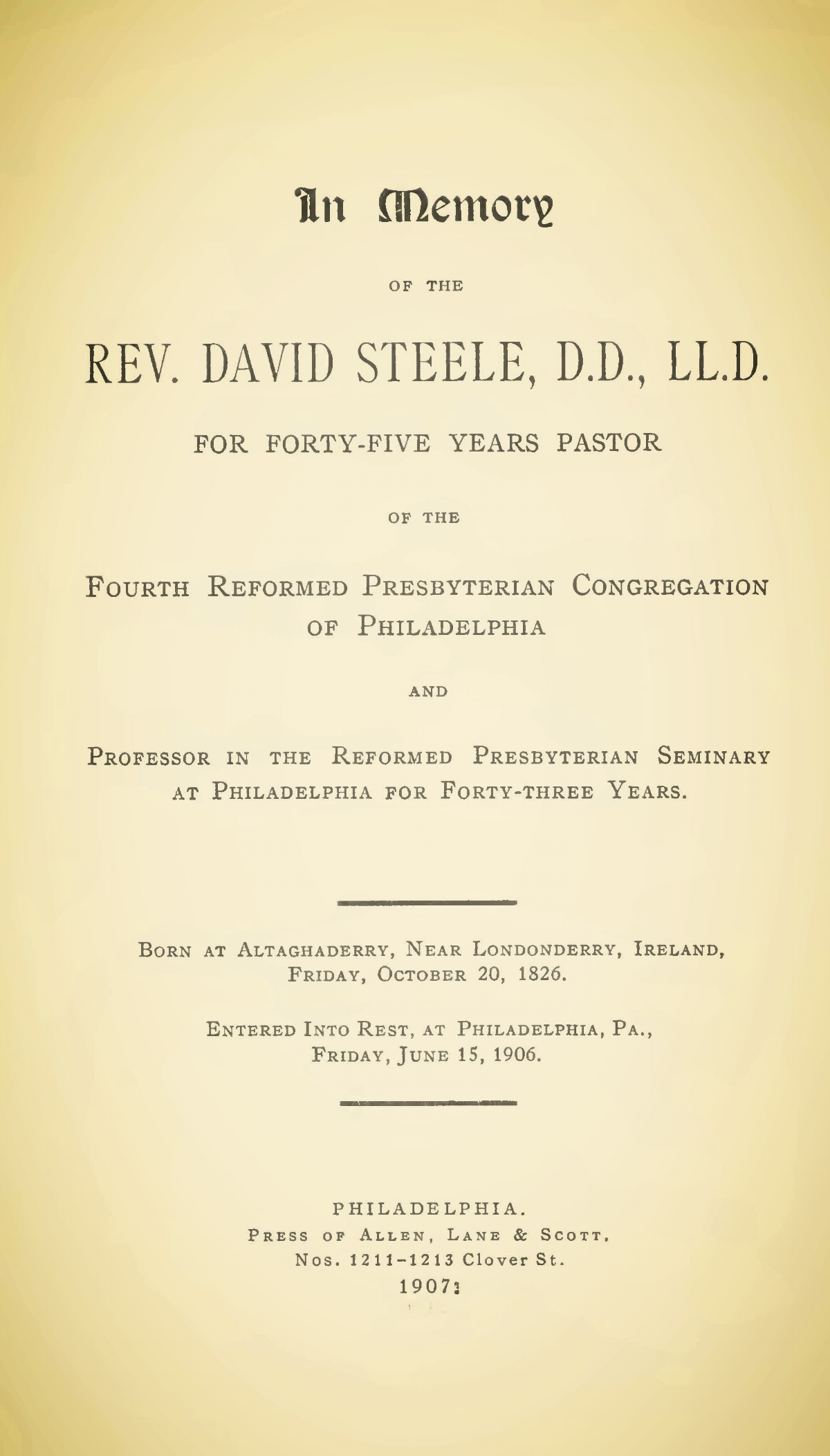 Steele, David, In Memory of the Rev. David Steele, D.D., L.L.D. TItle Page.jpg