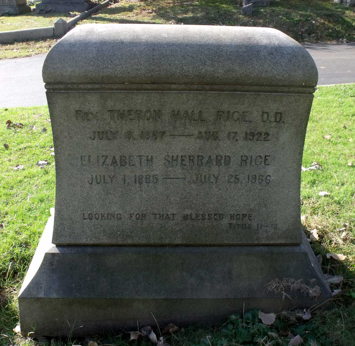 Theron Hall Rice, Jr. is buried at Hollywood Cemetery, Richmond, Virginia.