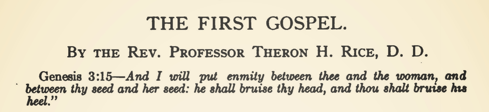 Rice, Jr., Theron Hall, The First Gospel Title Page.jpg