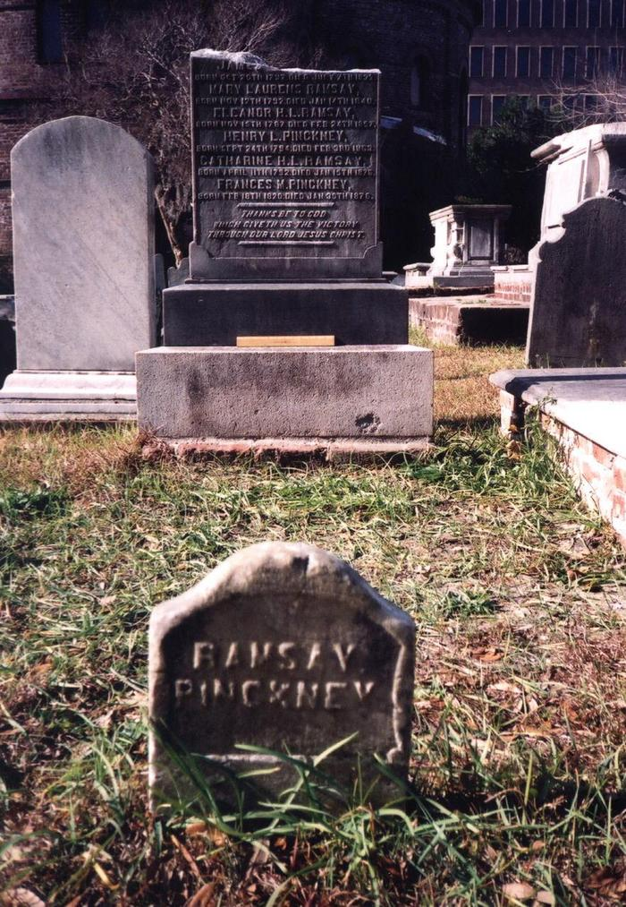 David Ramsay is buried at the Circular Congregational Church Burying Ground, Charleston, South Carolina. The top portion of the gravestone is broken off.