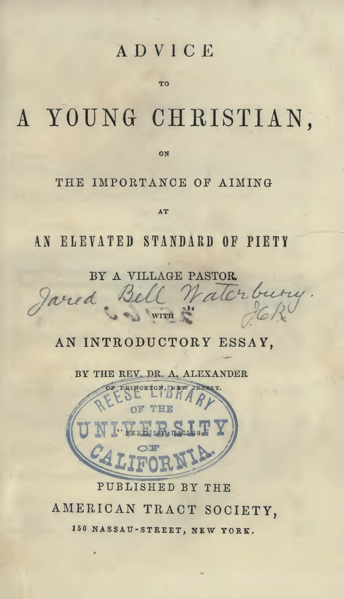Alexander, Archibald, Introductory Essay on the Nature of Vital Piety Title Page.jpg