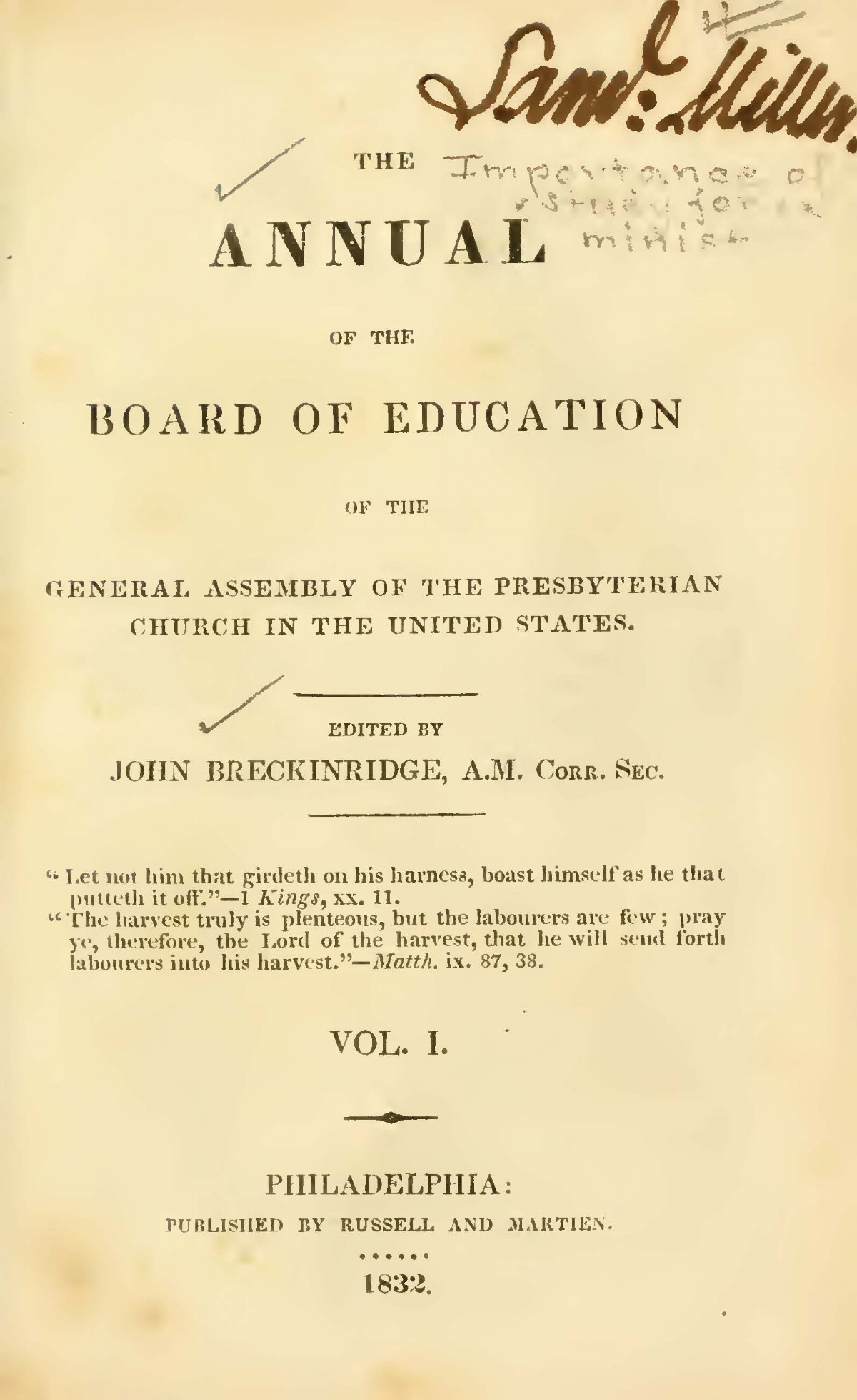 Breckinridge, John, Introductory Address Title Page.jpg