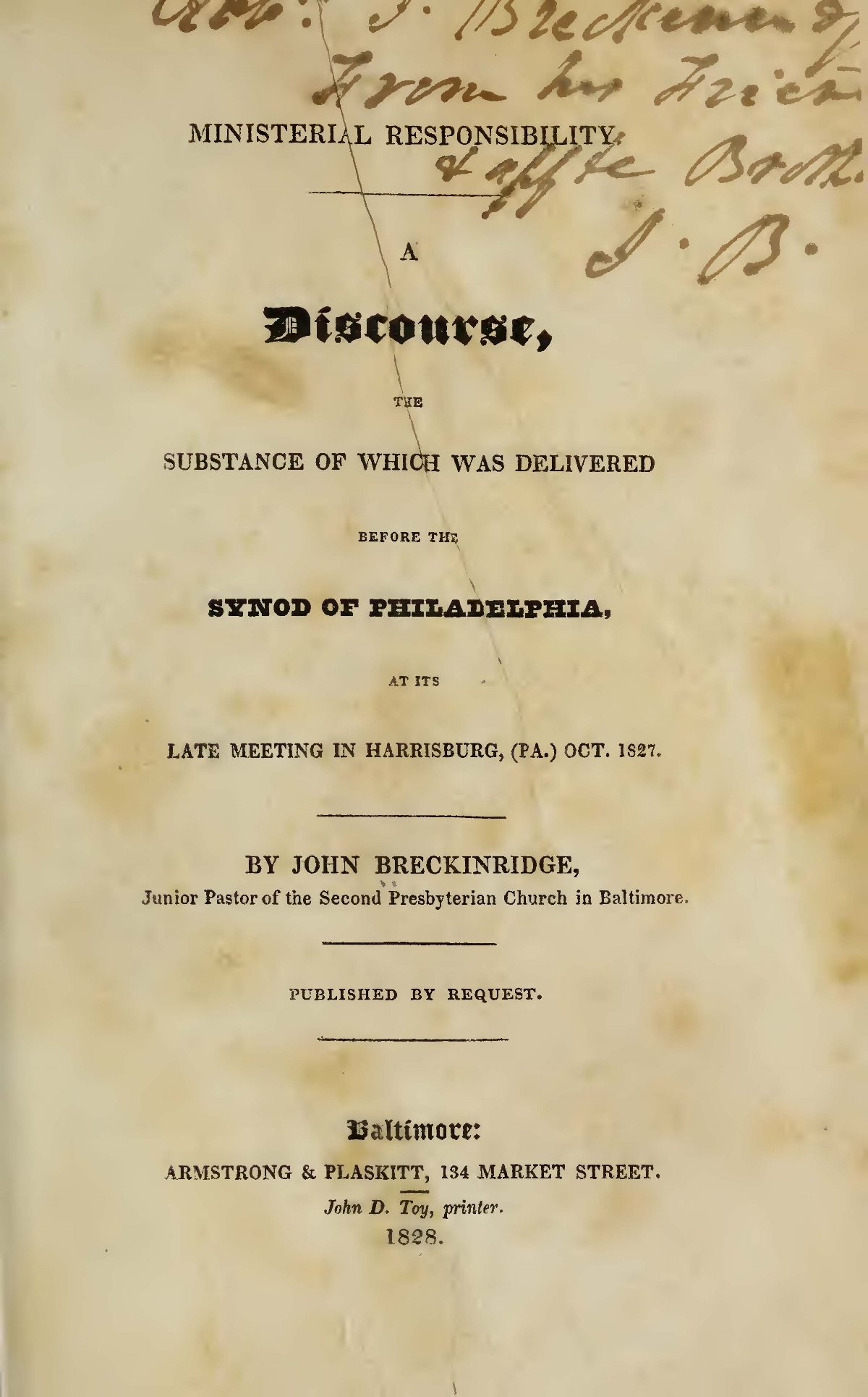Breckinridge, John, Ministerial Responsibility Title Page.jpg