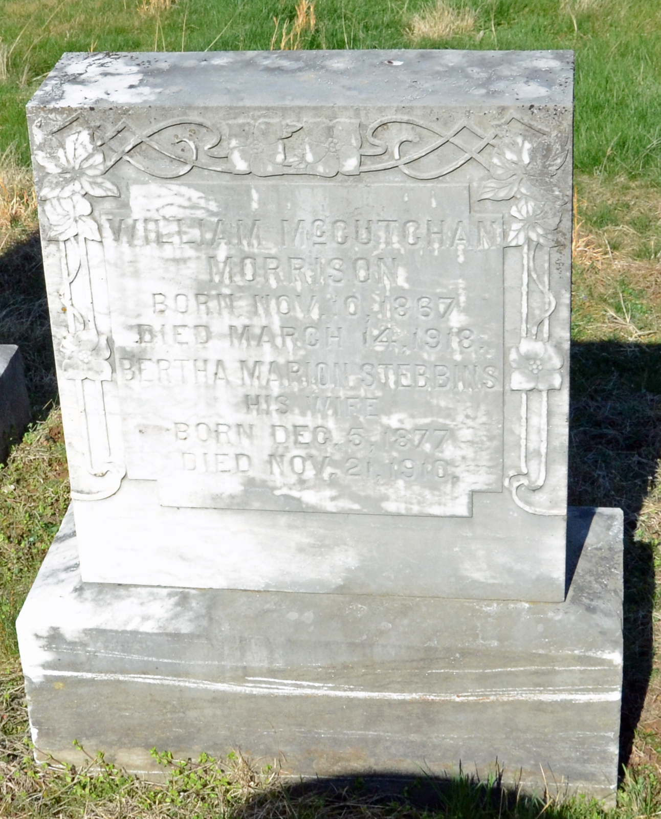 William McCutchan Morrison is buried at New Monmouth Presbyterian Cemetery, Lexington, Virginia.